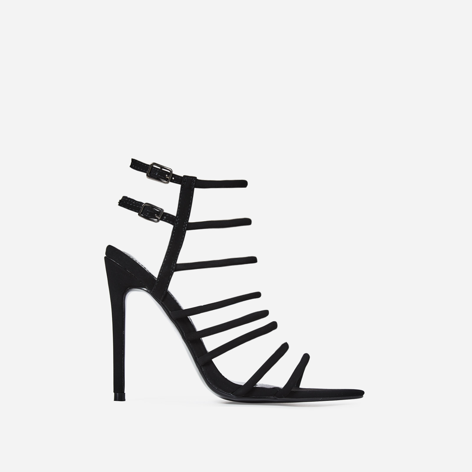 Endless Lace Up Heel In Black Faux Leather