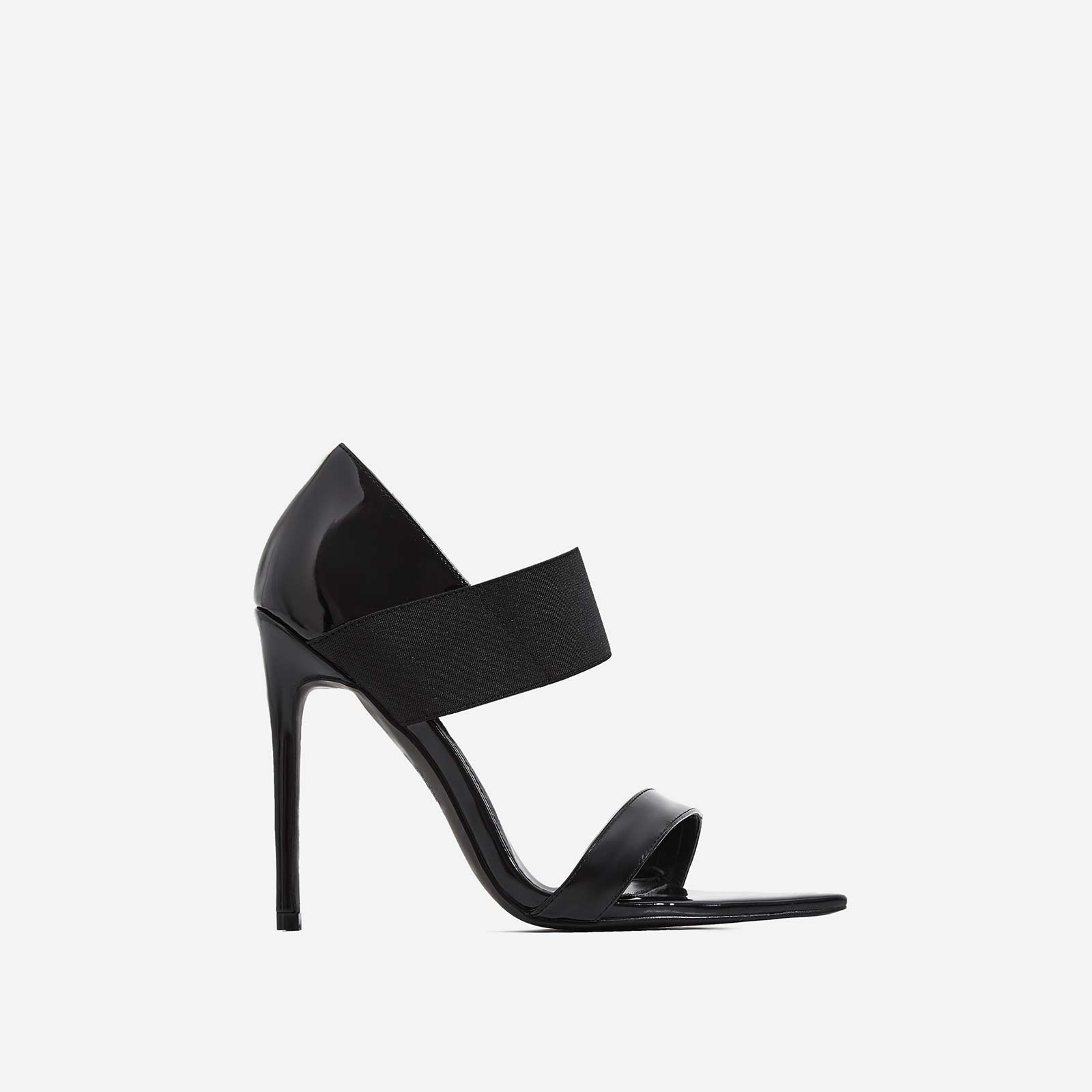 Erika Elasticated Pointed Peep Toe Heel In Black Patent