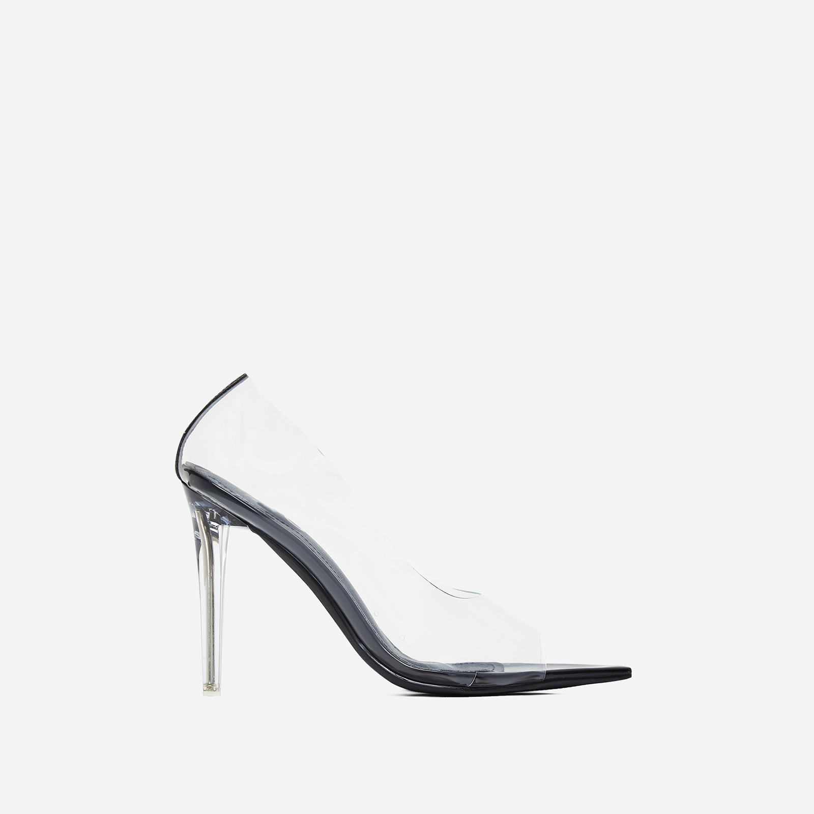 Ethereal Peep Toe Perspex Court Heel In Black Patent