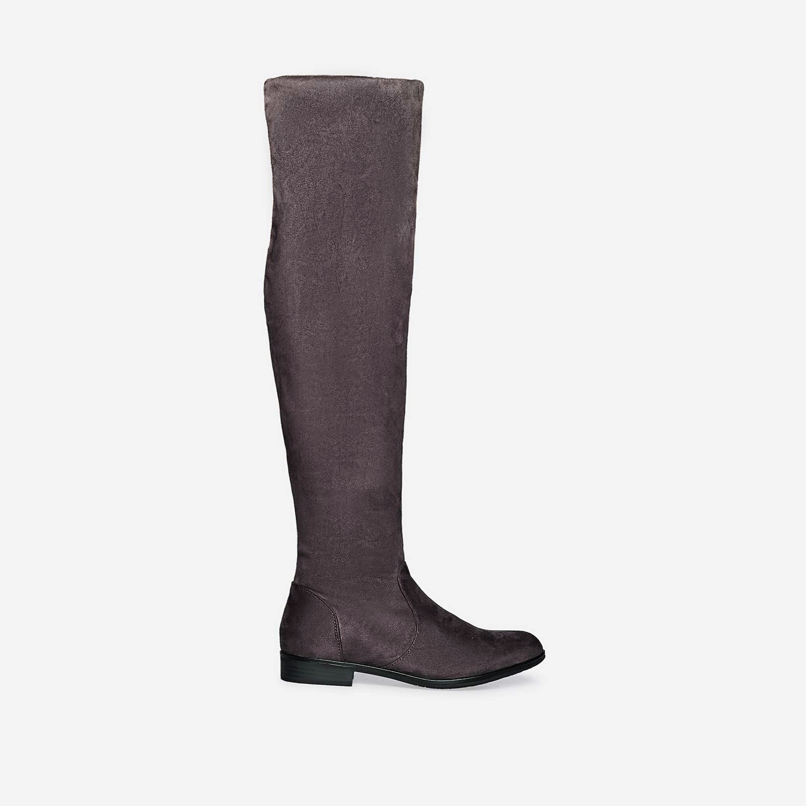 Maxine Long Boot In Grey Faux Suede