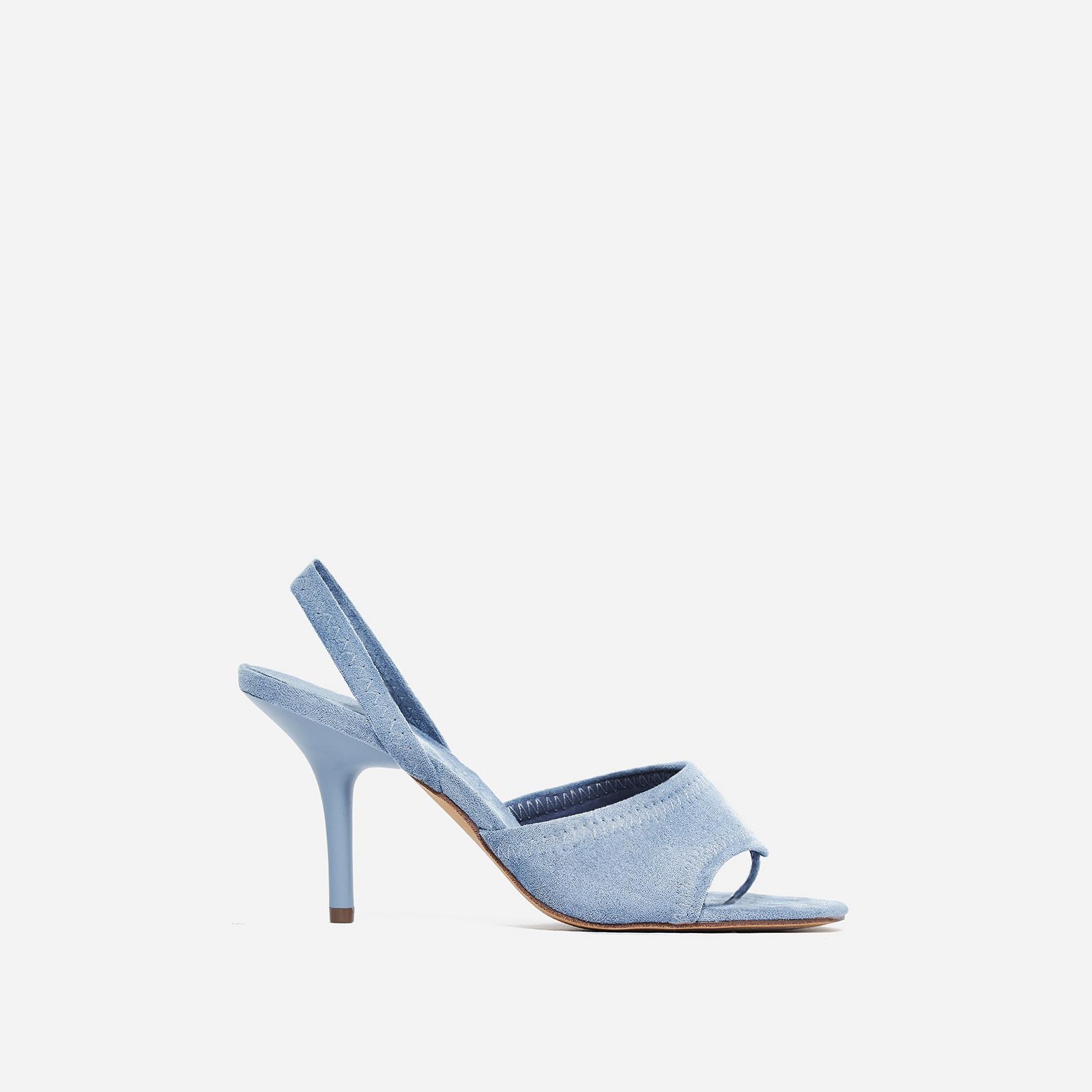 Fierce Peep Toe Mule In Blue Faux Suede