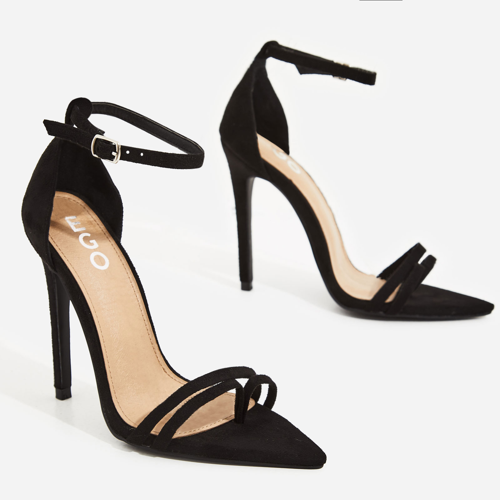 Fern Barley There Strappy Toe Post Heel In Black Faux Suede