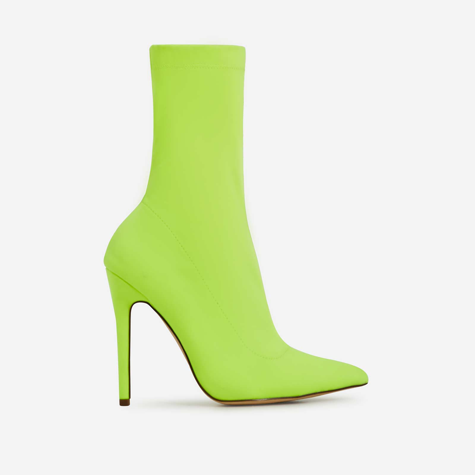 Fiona Pointed Toe Ankle Sock Boot In Neon Lime Green Lycra