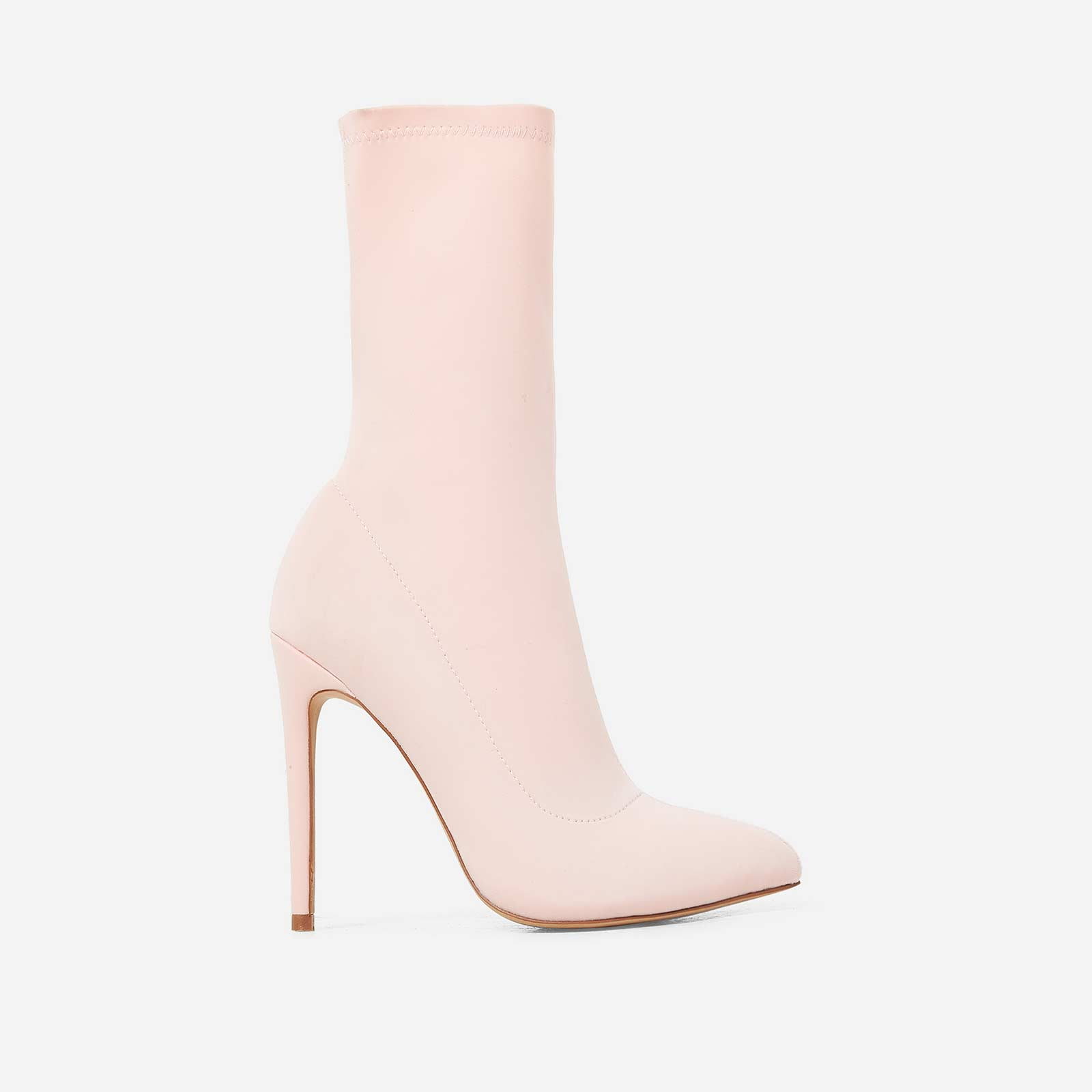 Fiona Pointed Toe Sock Boot In Pink Lycra