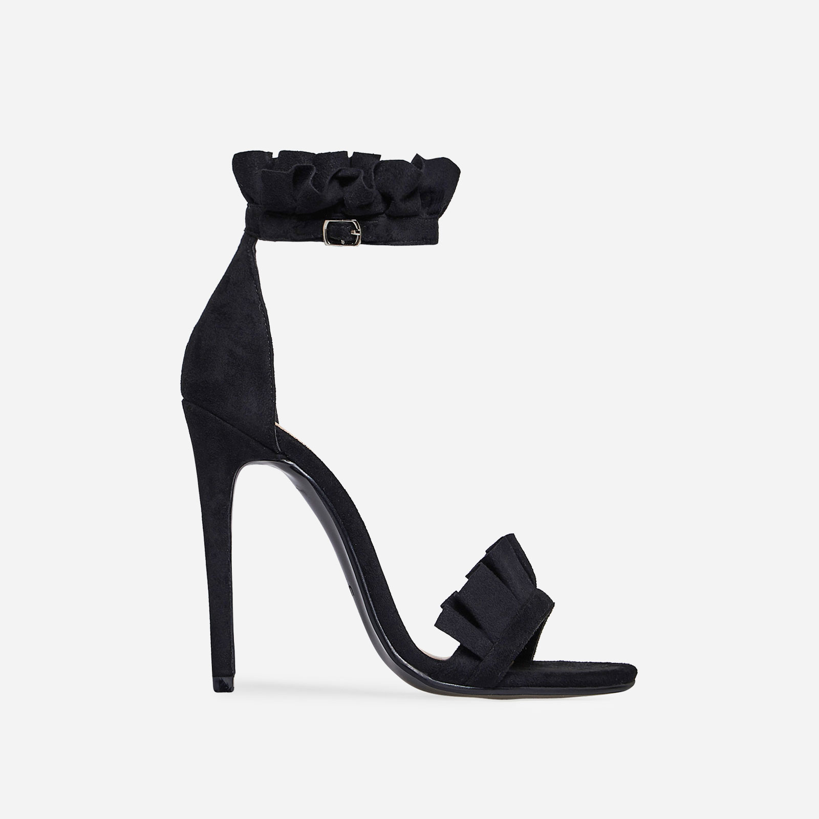 Florence Frill Detail Heel In Black Faux Suede Image 1