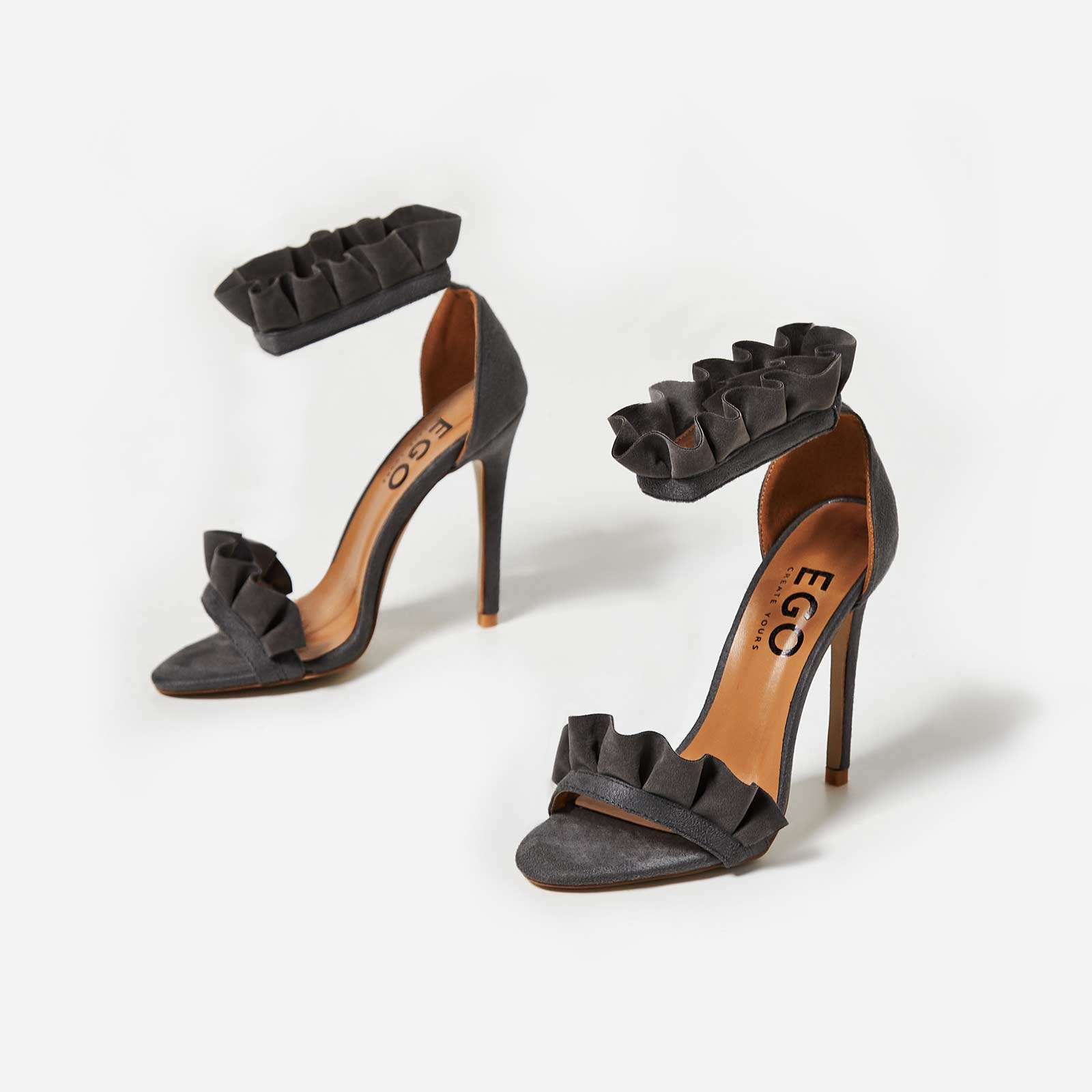 Florence Frill Detail Heel In Grey Faux Suede Image 1