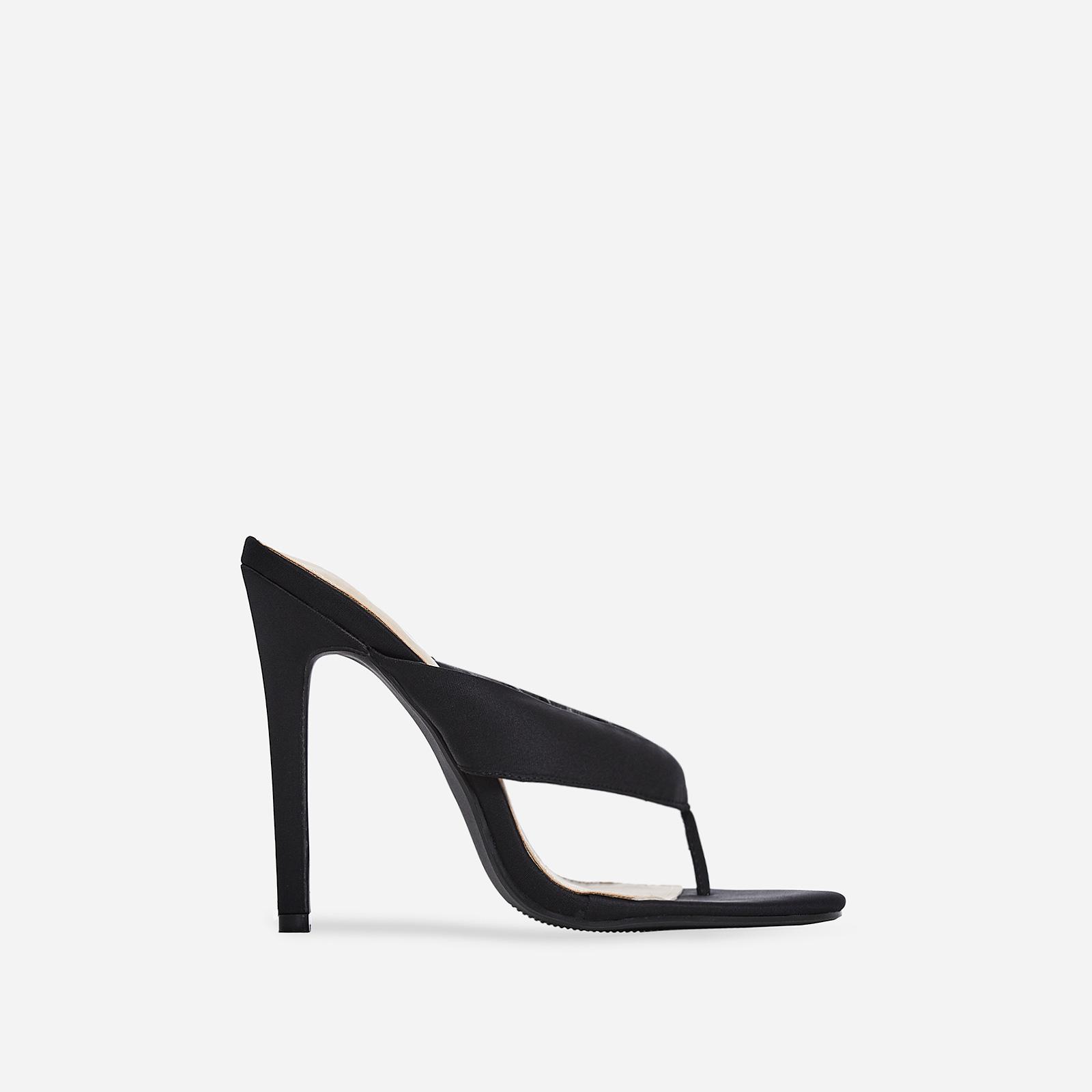Fran Flip Flop Heel In Black Lycra