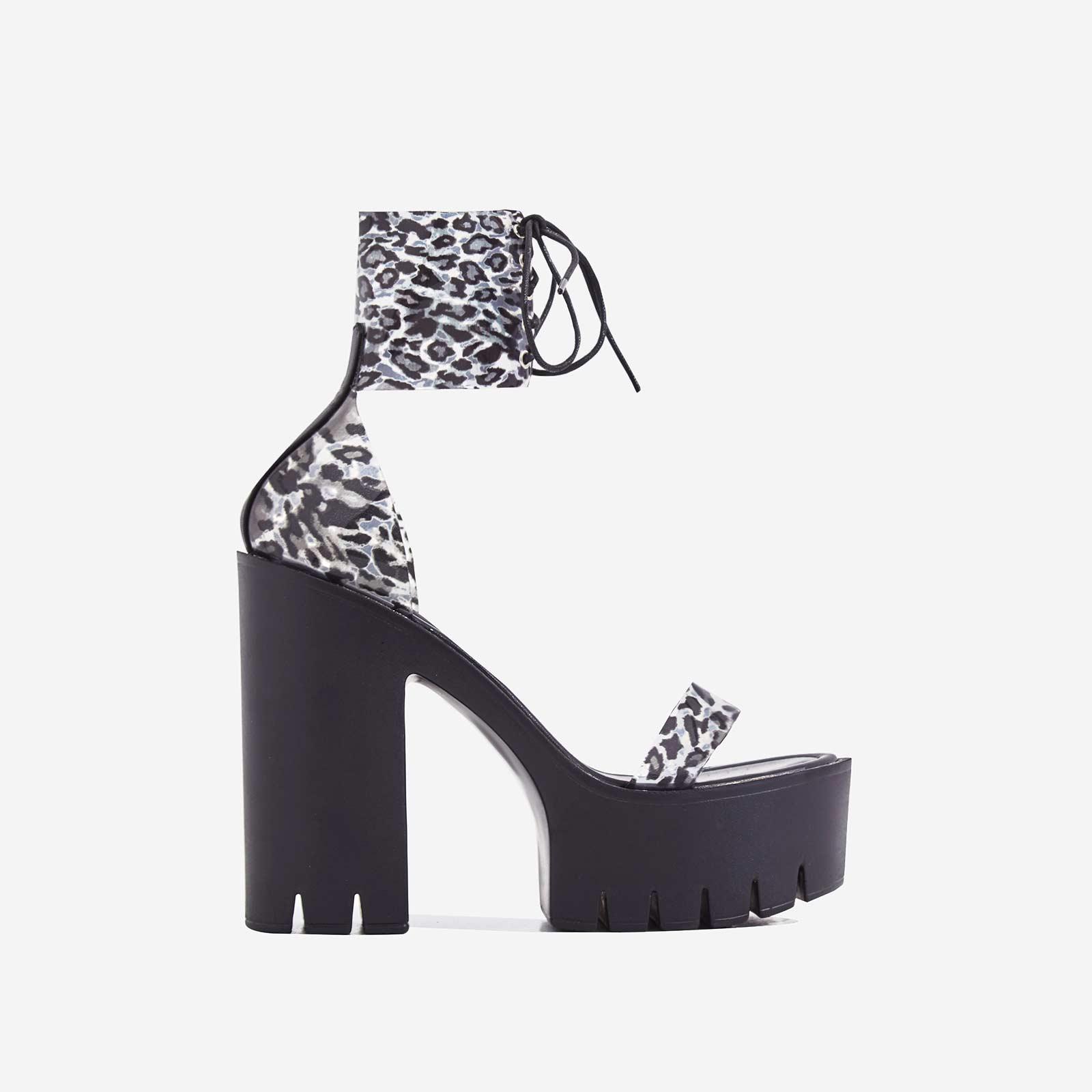Frenzy Lace Up Leopard Print Perspex Platform Block Heel In Black