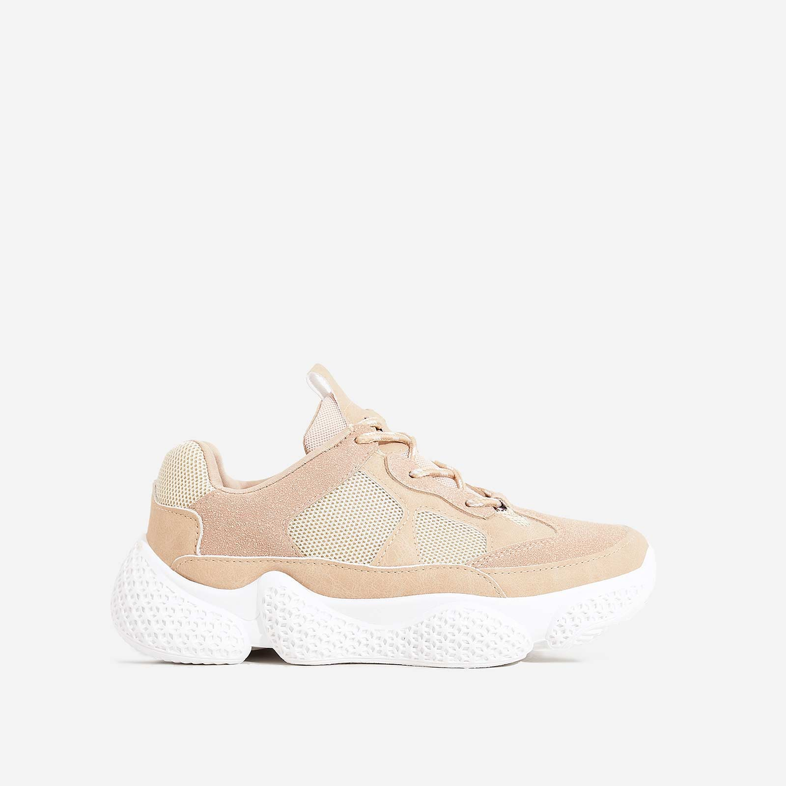 Reeva Chunky Sole Trainer In Nude Faux Suede