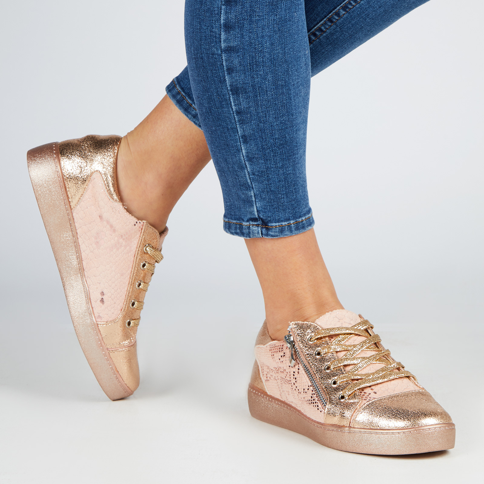 Shoes Kami Snake Print Lace Up Trainers In Rose Gold Faux Leather