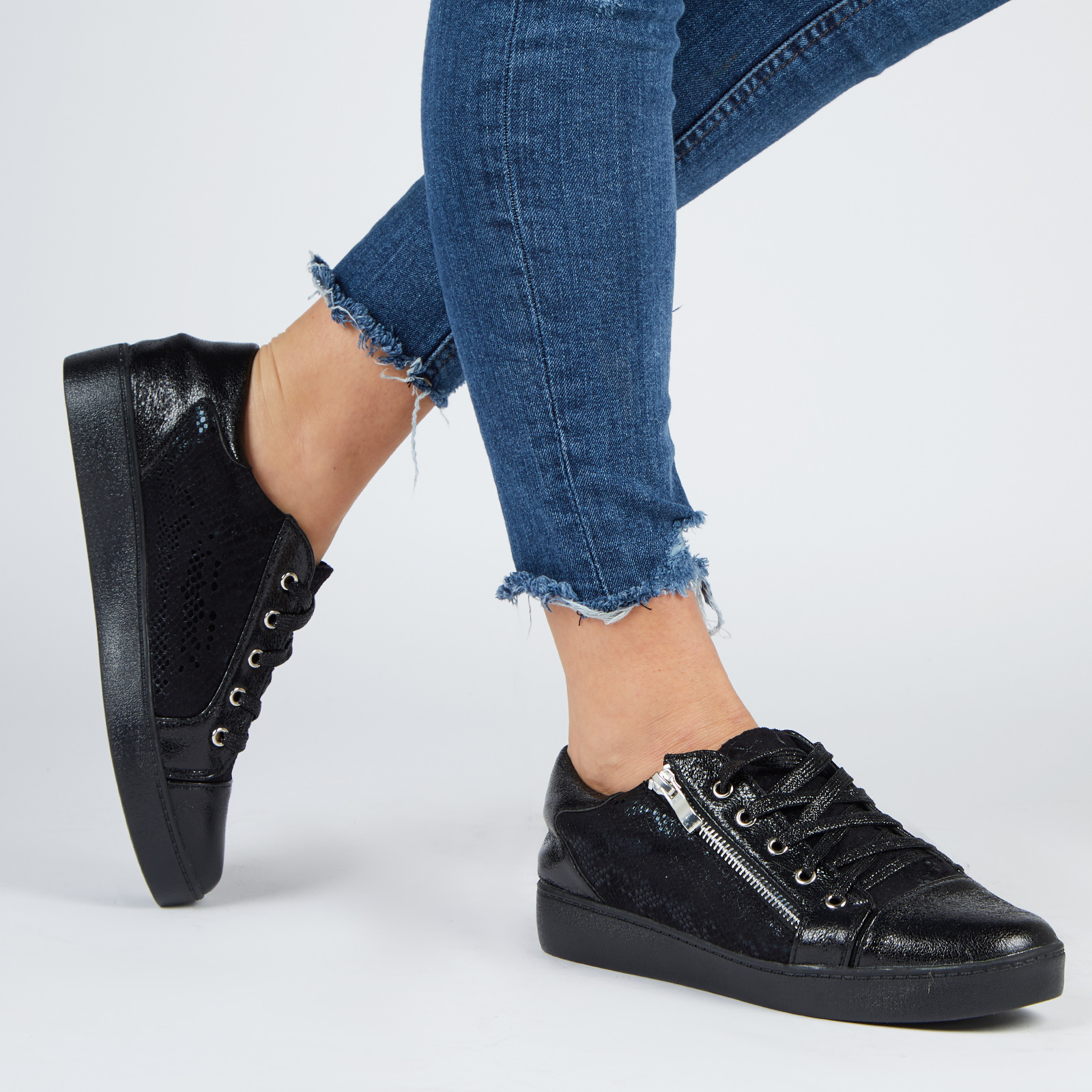Shoes Kami Snake Print Lace Up Trainers In Metallic Black Faux Leather
