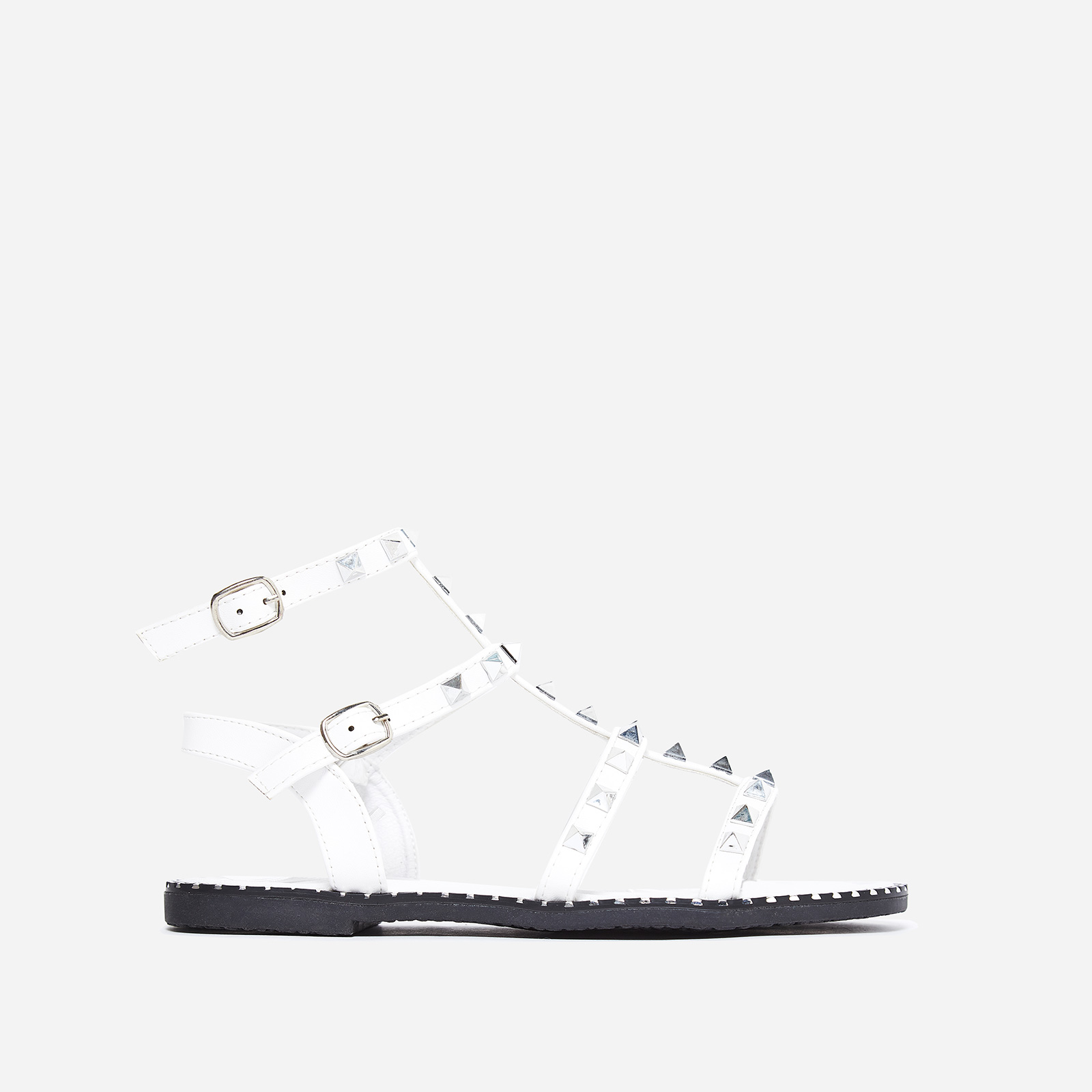Gabriel Silver Studded Detail Gladiator Sandal In White Faux Leather