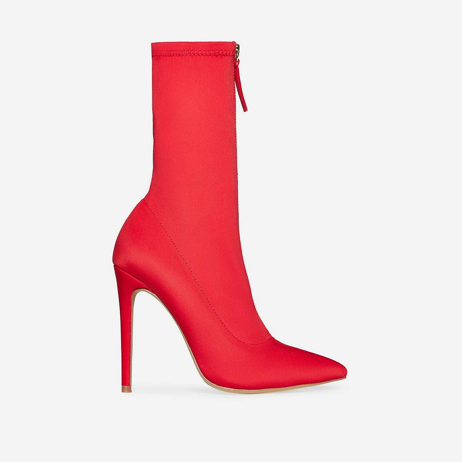 Garda Zip Detail Sock Boot In Red Lycra