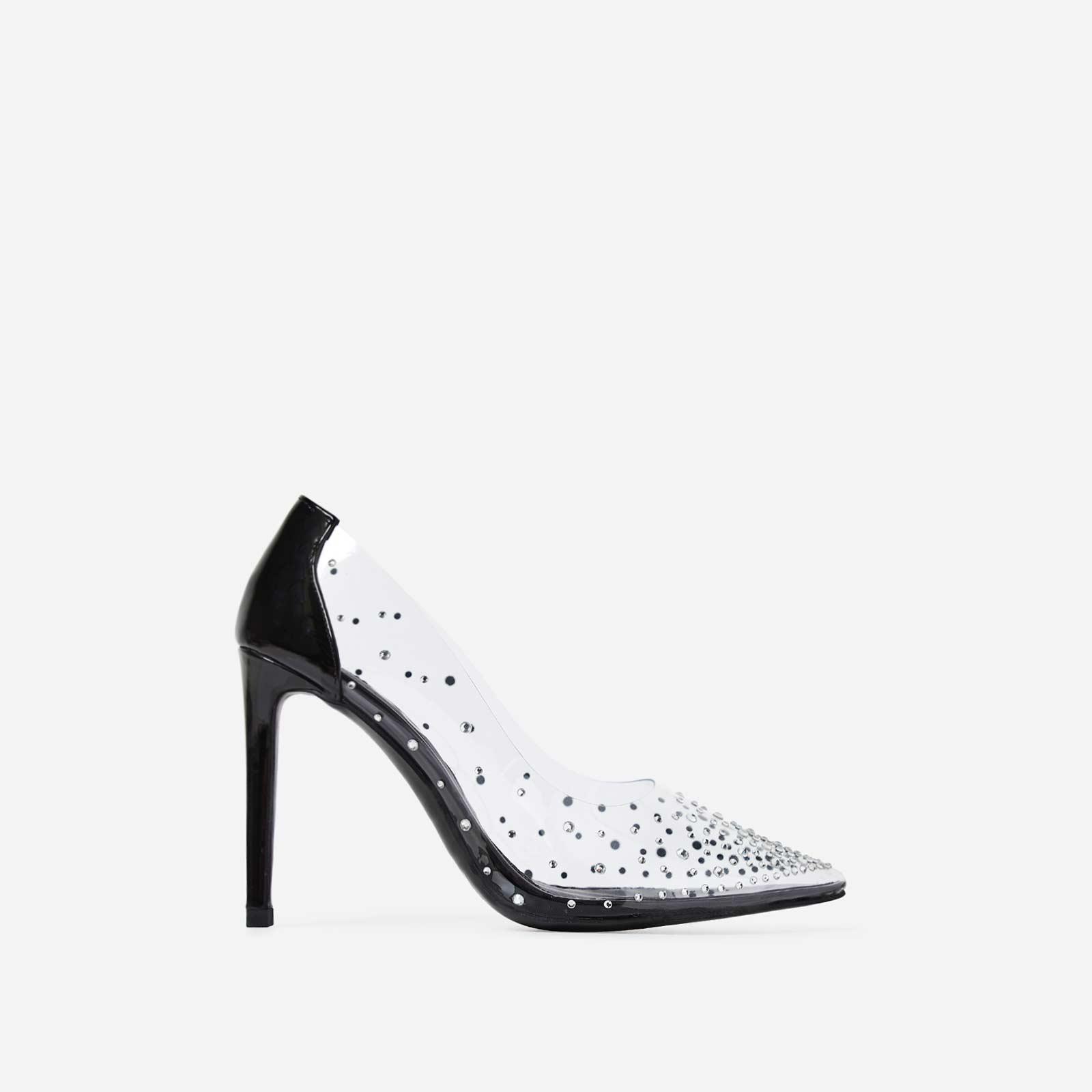 Girls Best Friend Diamante Perspex Court Heel In Black Patent
