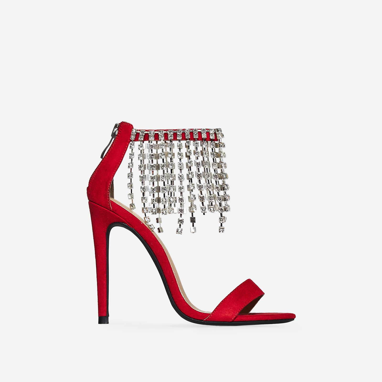 Ginny Diamante Heel In Red Faux Suede