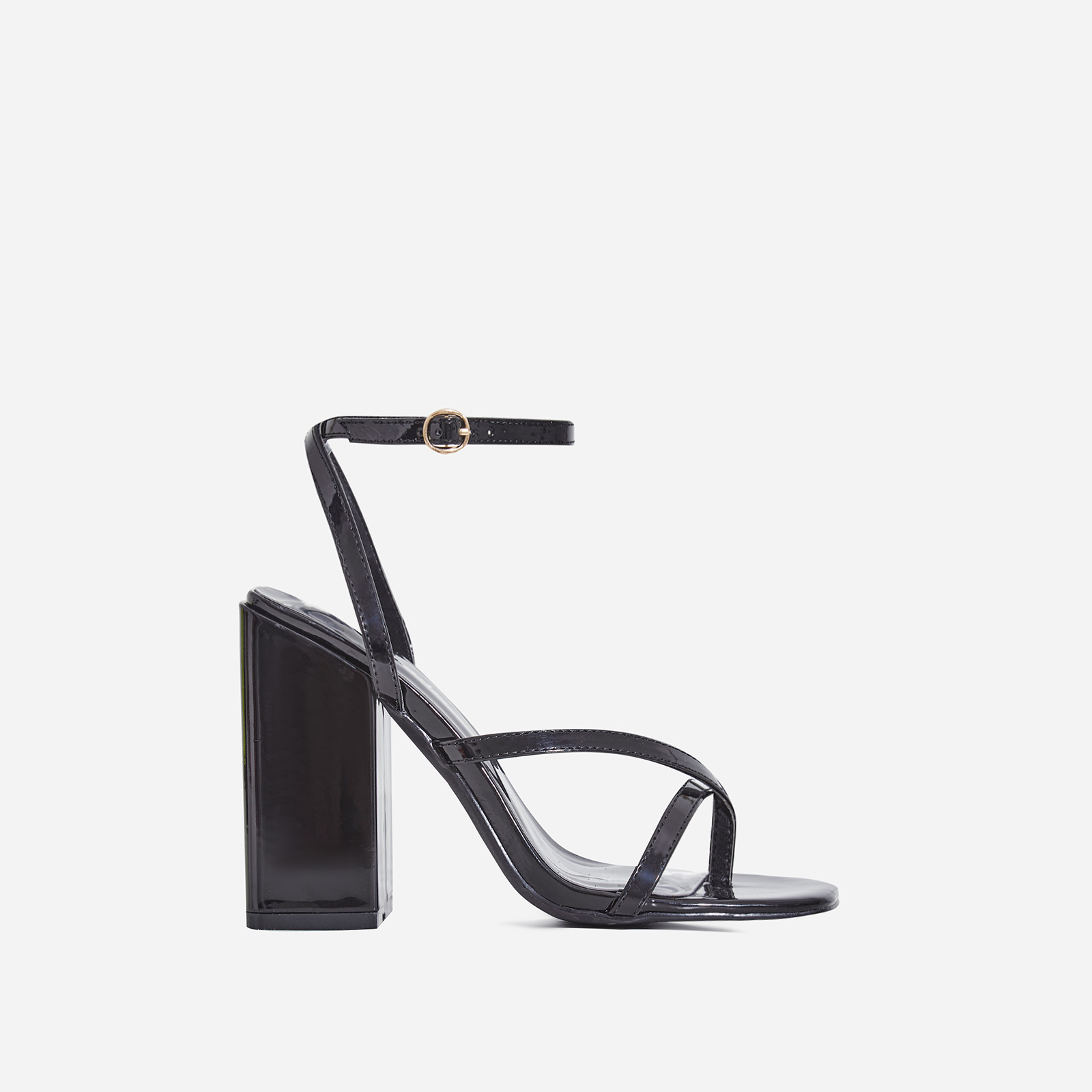 Grace Toe Strap Block Heel In Black Patent
