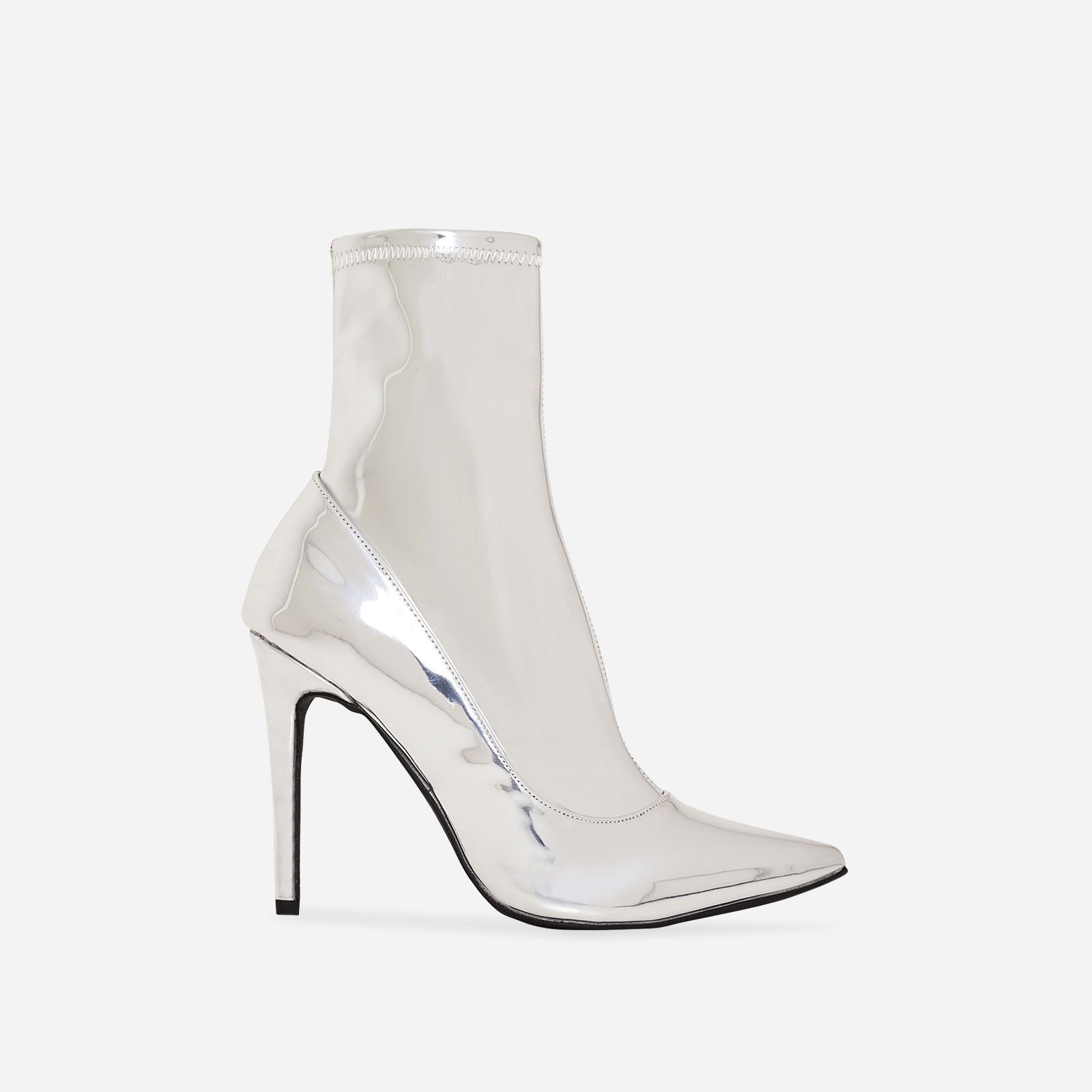 Hadley Pointed Toe Ankle Boot In Metallic Silver Faux Leather