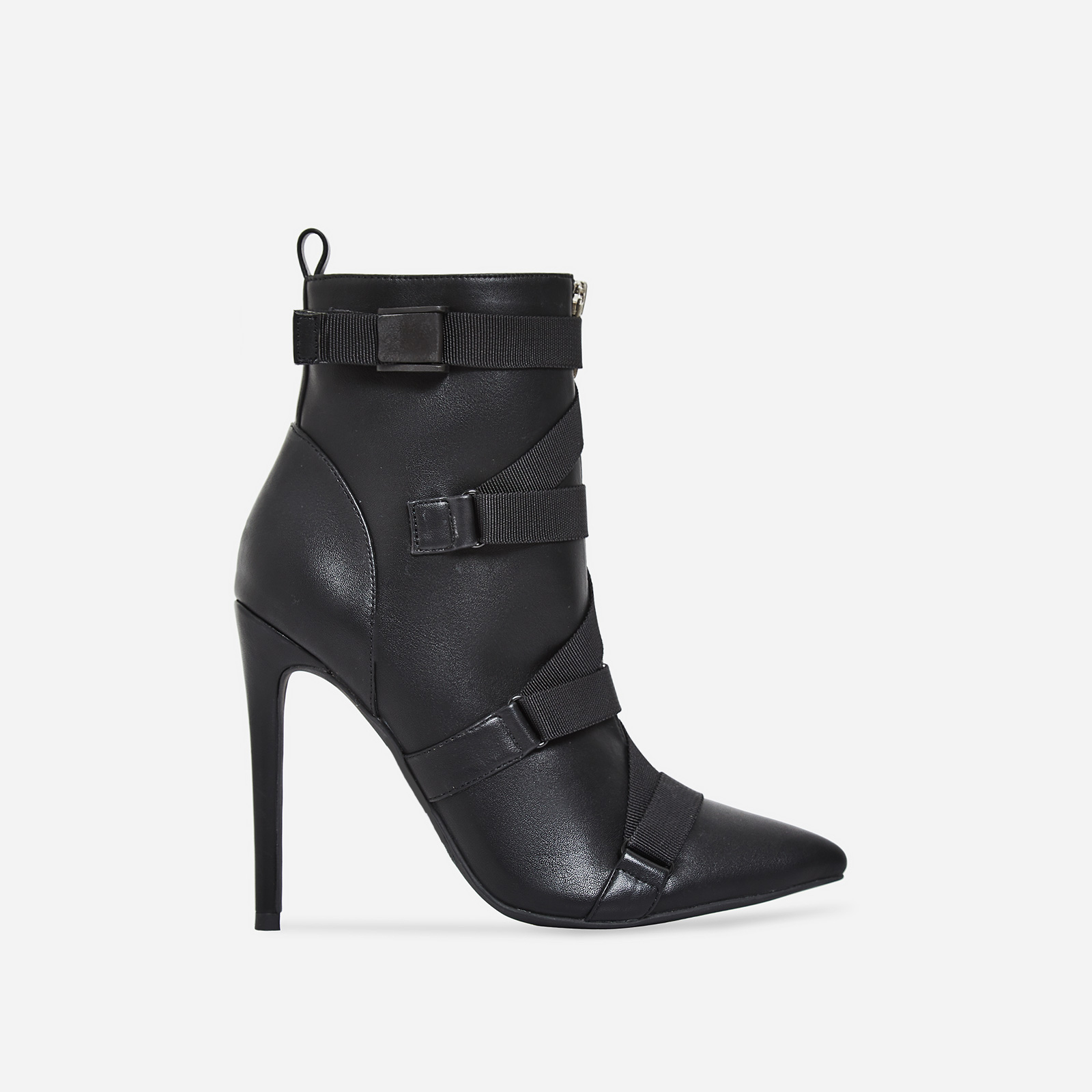 Halle Strap Detail Ankle Boot In Black Faux Leather