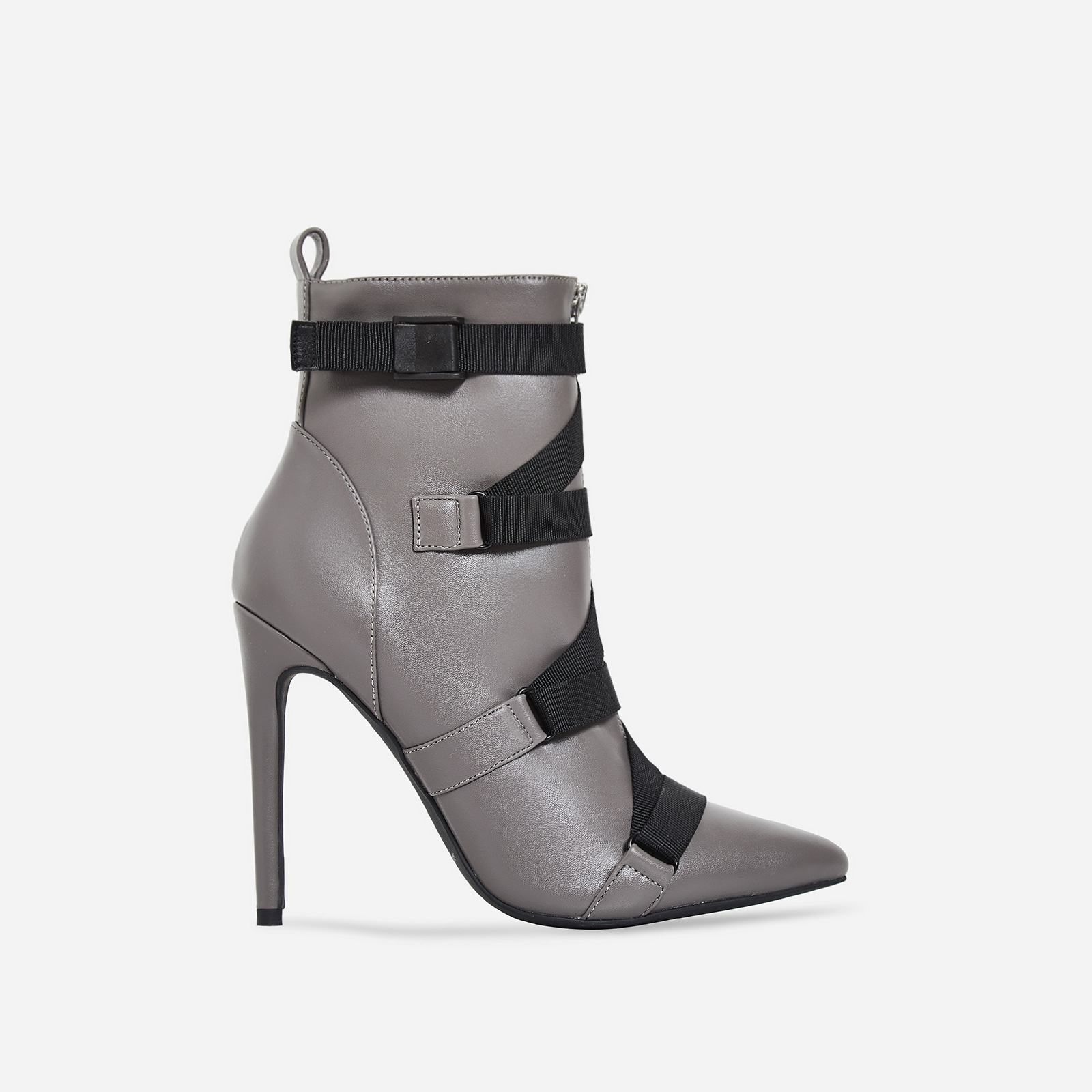 349c59e9ff052 Halle Strap Detail Ankle Boot In Grey Faux Leather | EGO