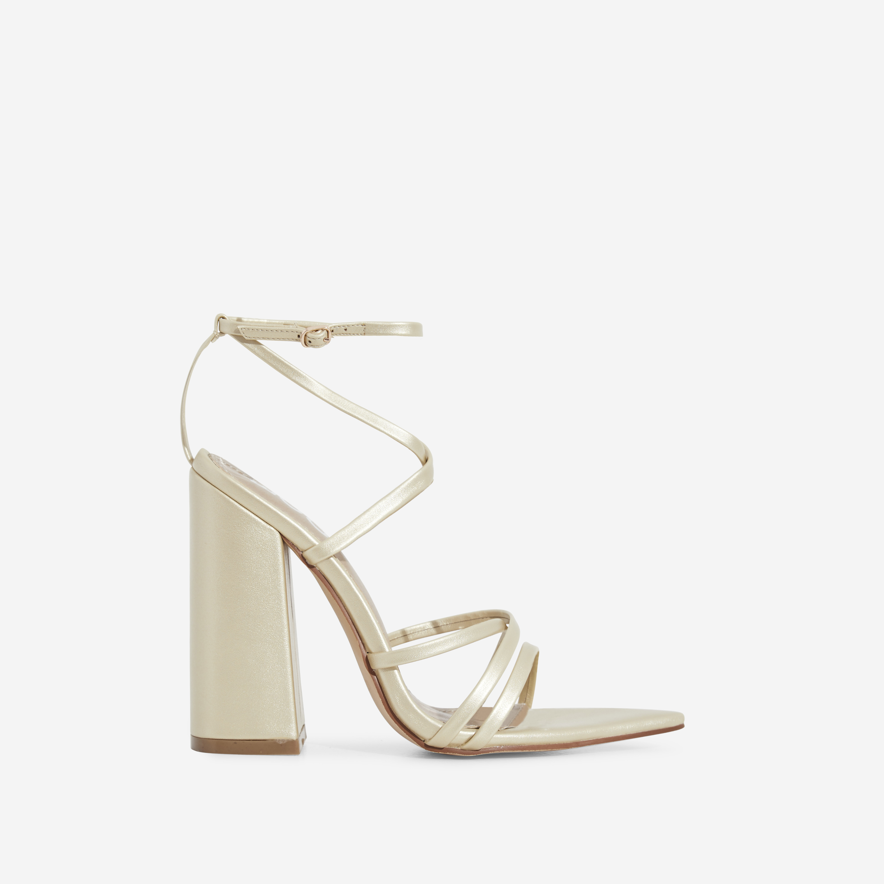 Halo Pointed Toe Block Heel In Champagne Faux Leather