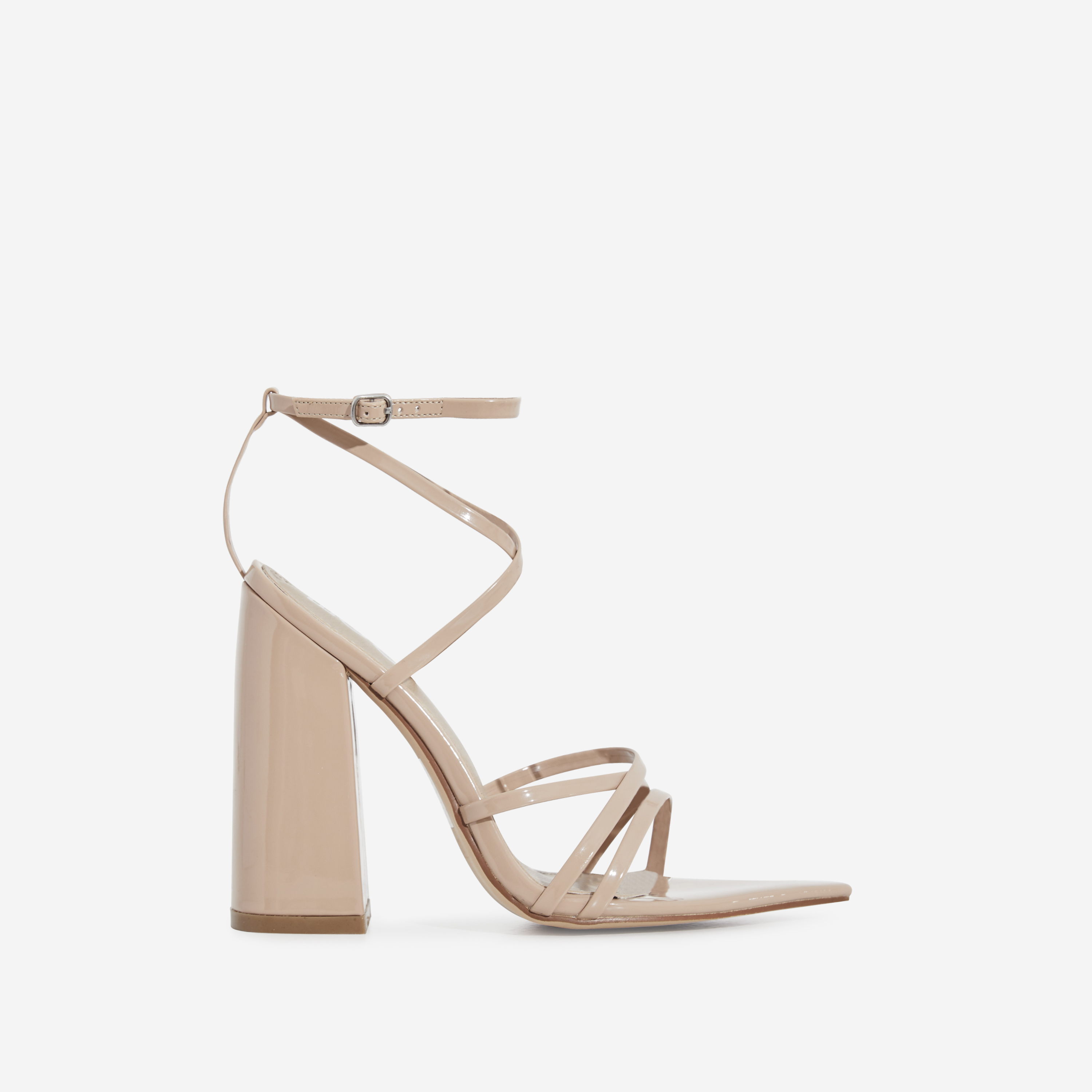 Halo Pointed Toe Block Heel In Nude Patent