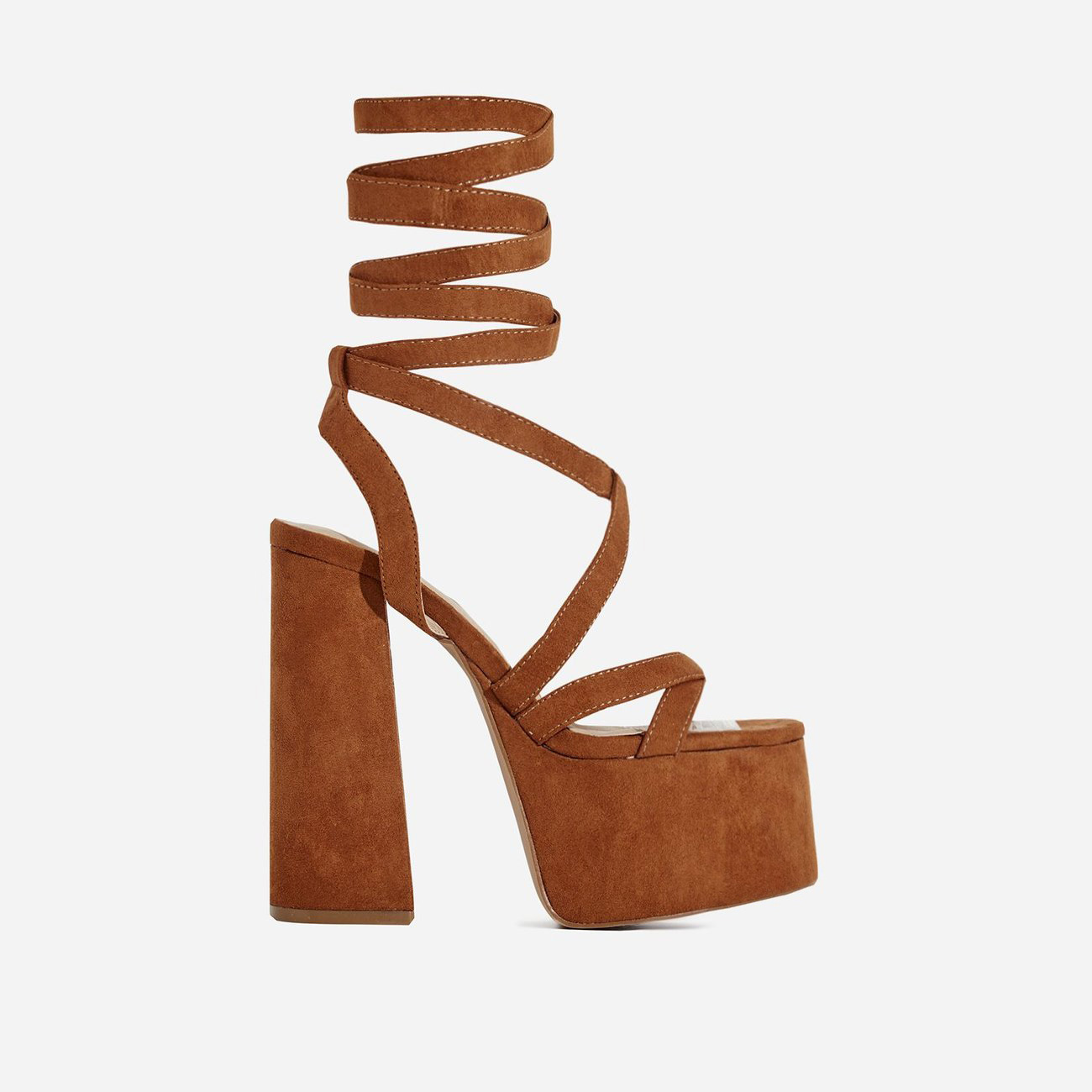 Harlow Lace Up Platform Heel In Tan Faux Suede