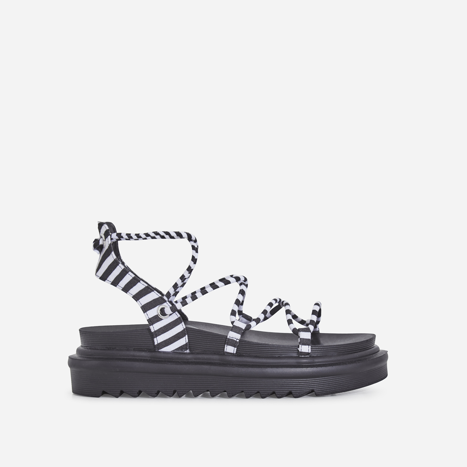 Harper Lace Up Chunky Sole Sandal In Black Stripe Canvas