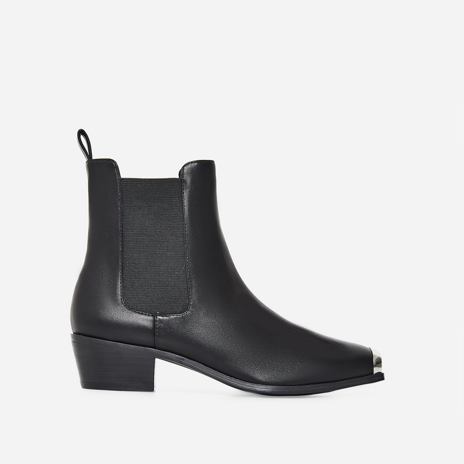 Hauser Toe Cap Western Ankle Boot In Black Faux Leather