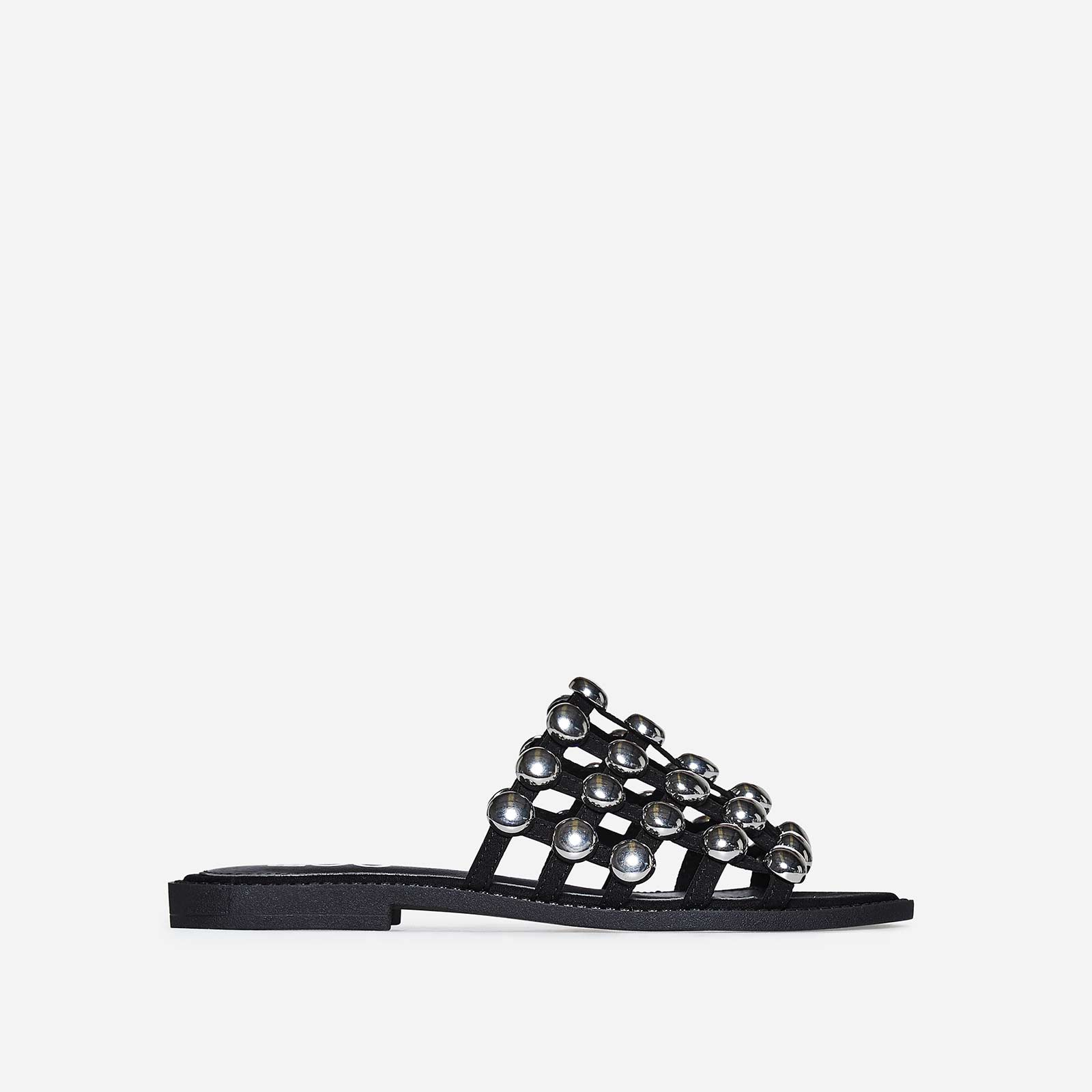 Hazel Silver Studded Detail Slider In Black Faux Suede