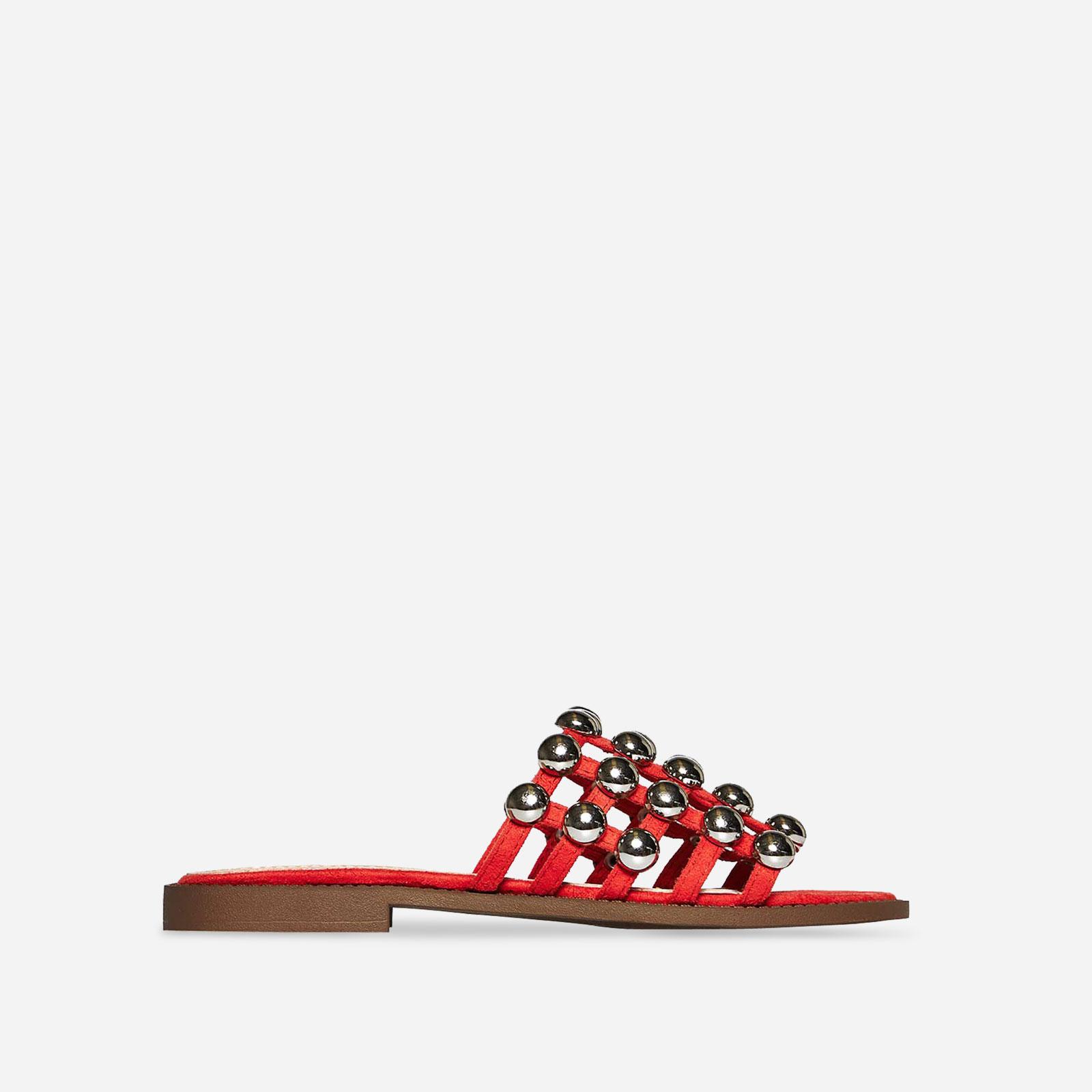 Shoes Hazel Studded Slider In Orange Faux Suede, Women's Size UK 7