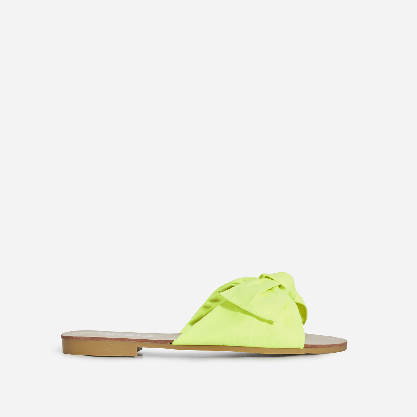 Hebe Bow Detail Slider In Neon Yellow Faux Suede