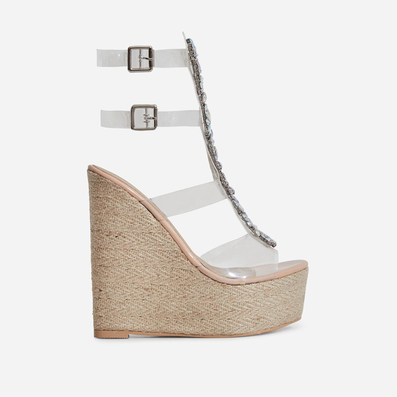 Heir Jewel Embellished Perspex Platform Espadrille Wedge Heel In Nude Patent