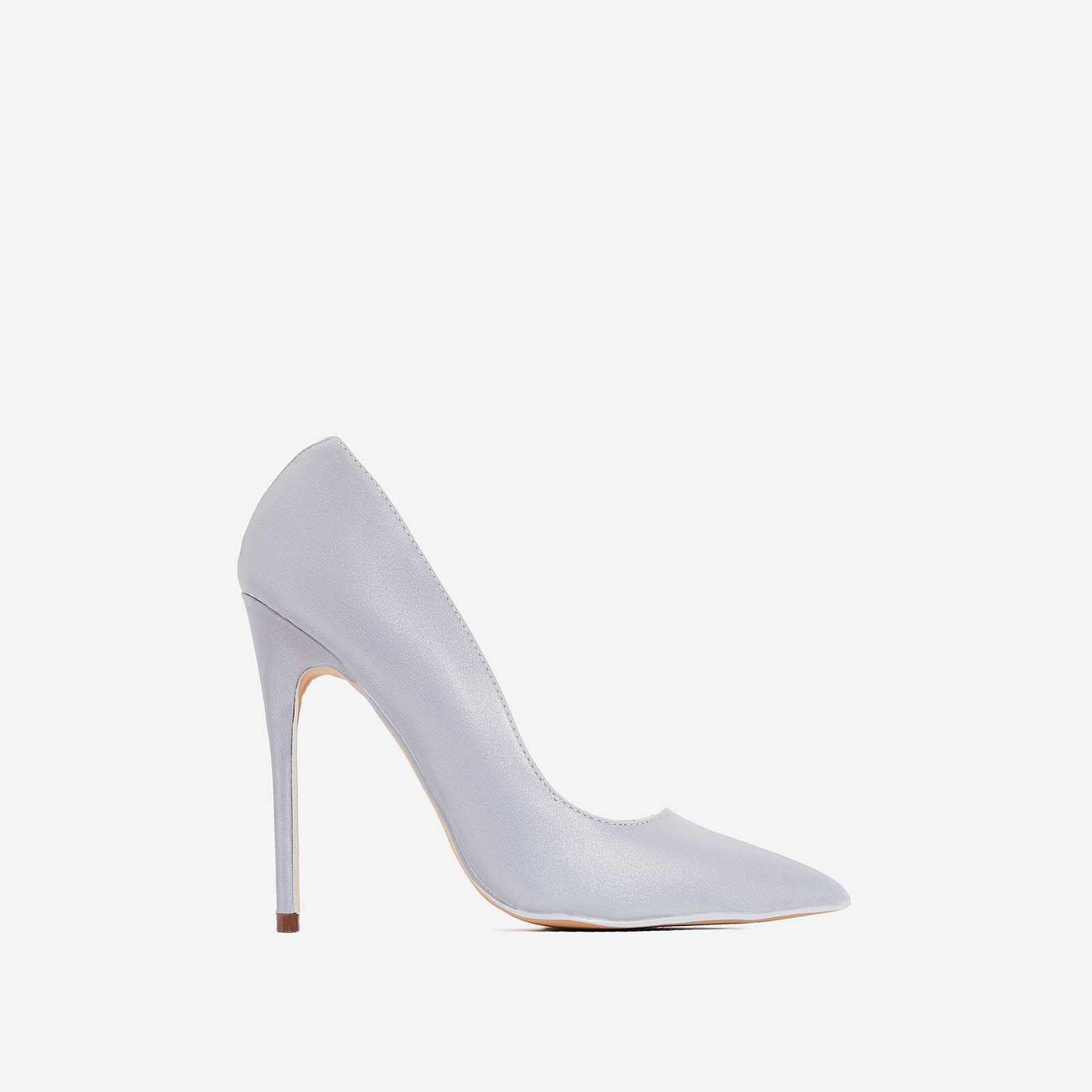 High-Beam Court Heel In Reflective Silver Faux Leather