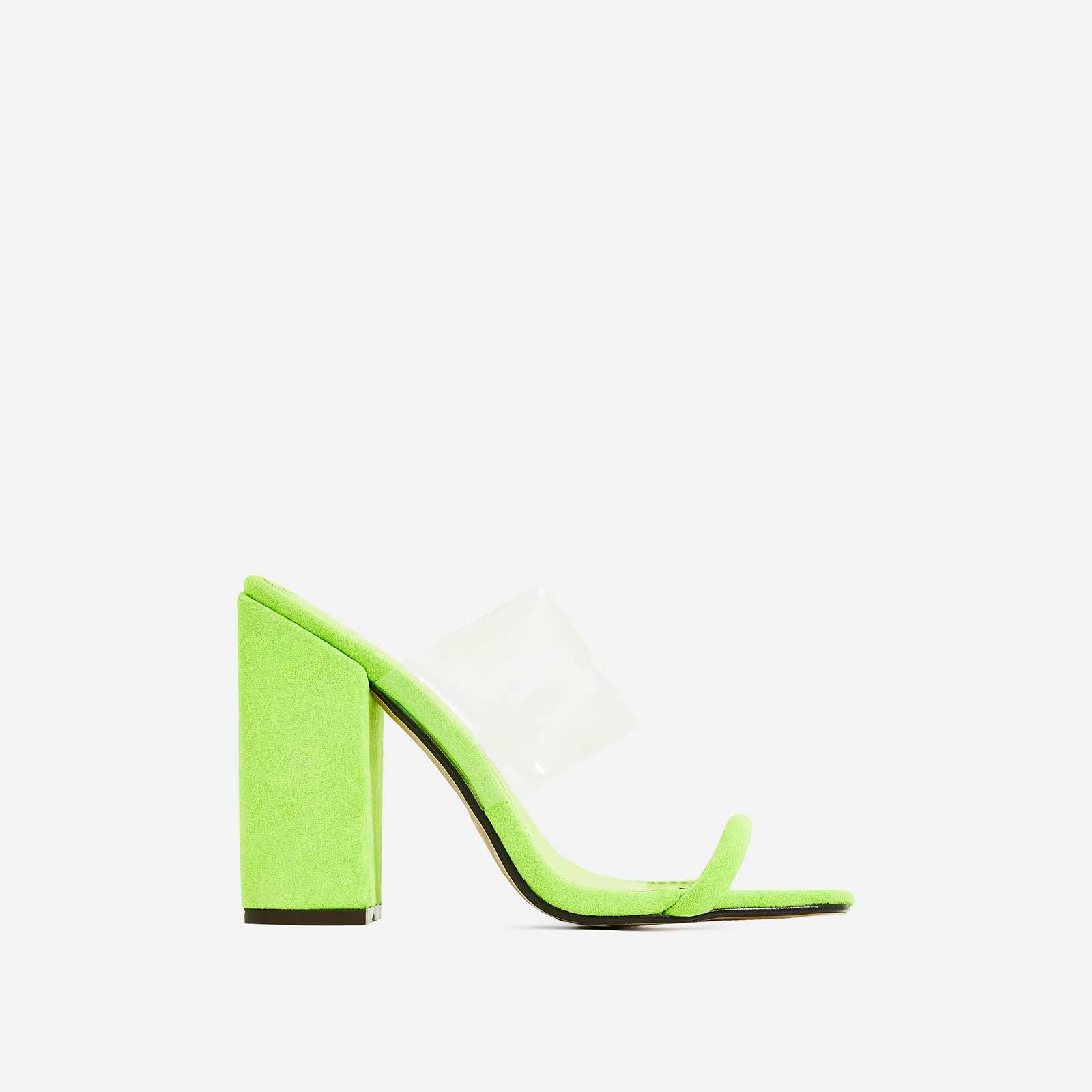 Elle Block Heel Perspex Heel Mule In Lime Green Faux Suede