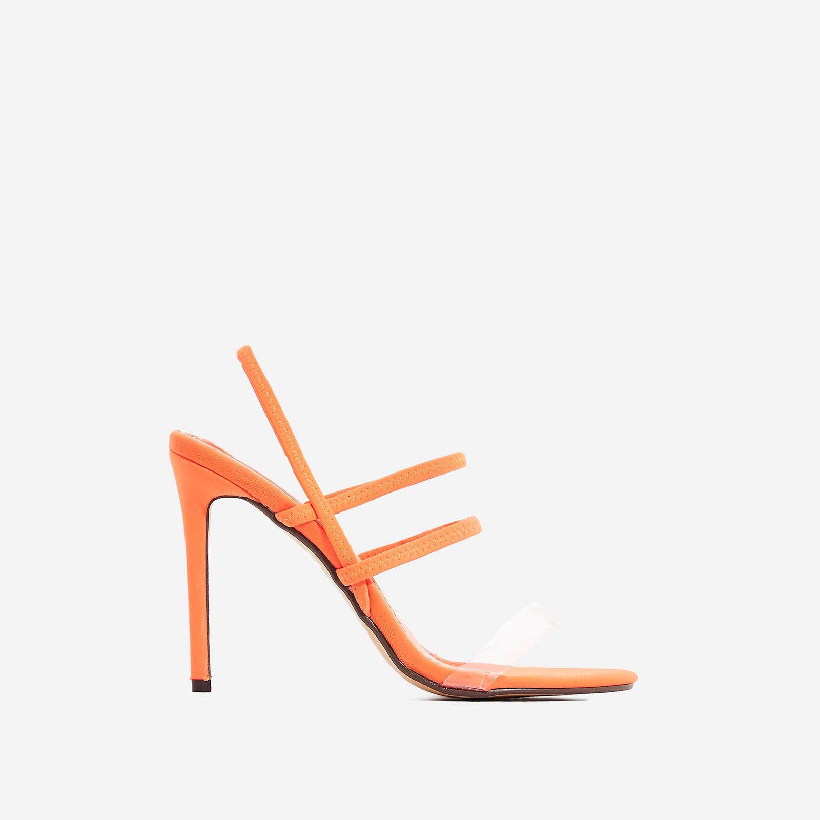 Sachi Perspex Detail Heel In Orange Lycra
