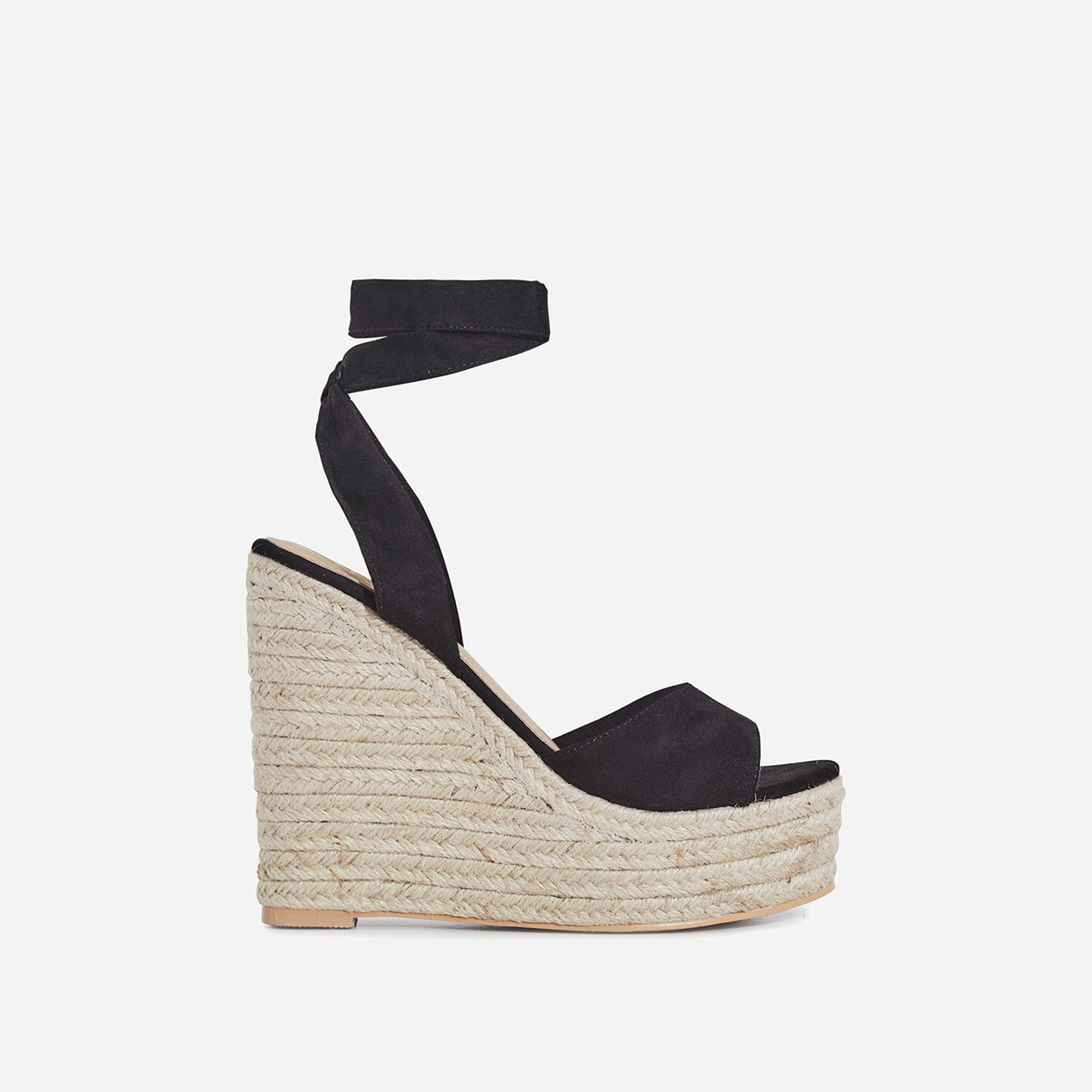 Hugo Lace Up Espadrille Wedge Platform Heel In Black Faux Suede