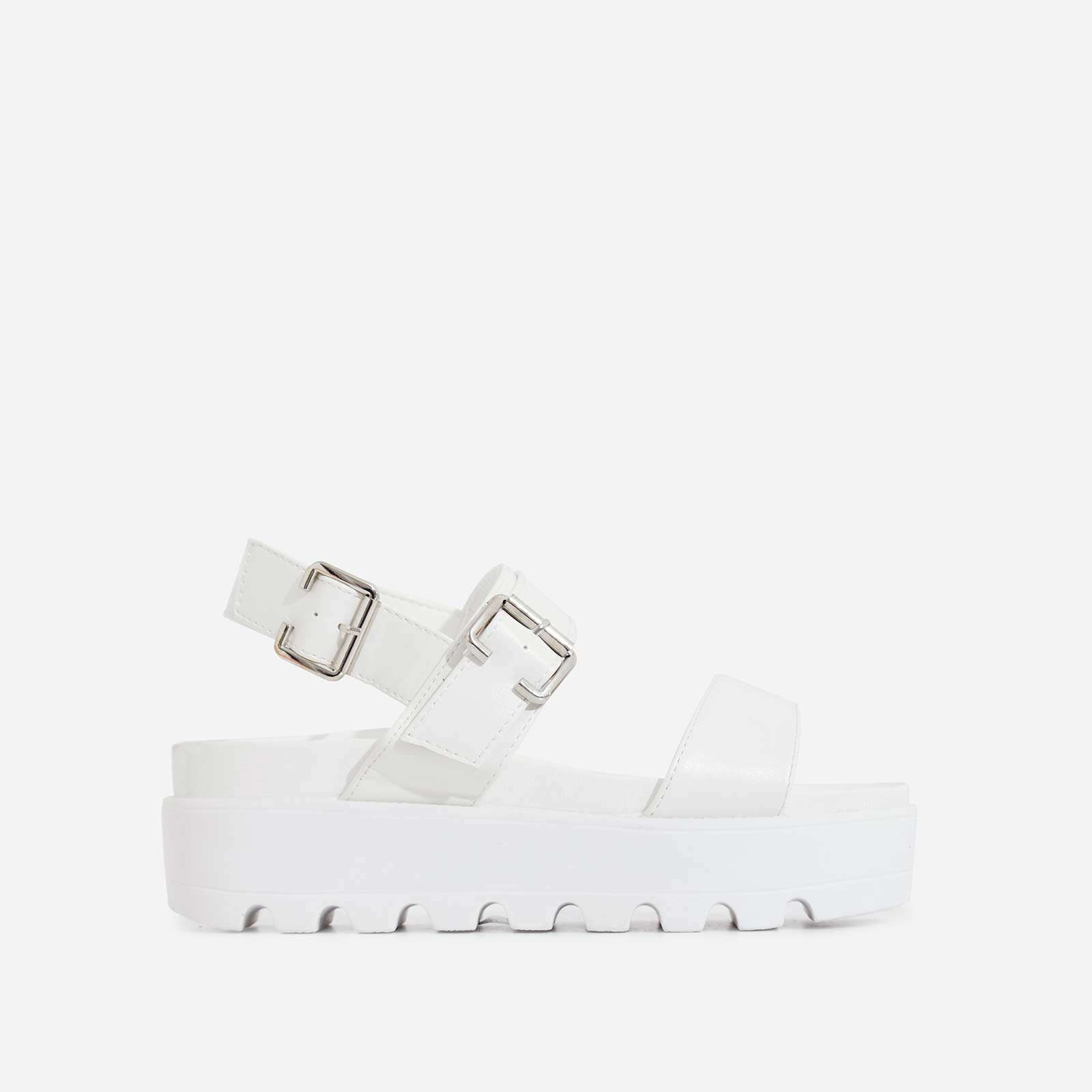 Zoey Chunky Sole Buckle Detail Sandal In White Faux Leather