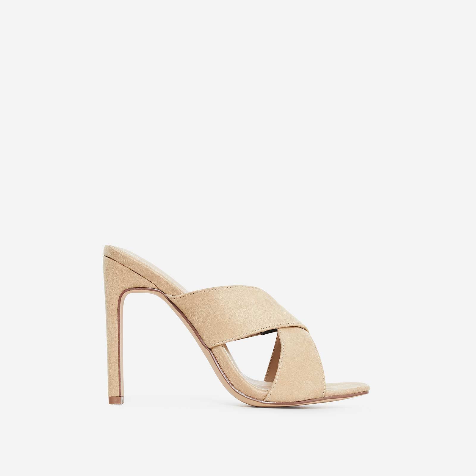 Hypnotic Cross Over Mule In Nude Faux Suede