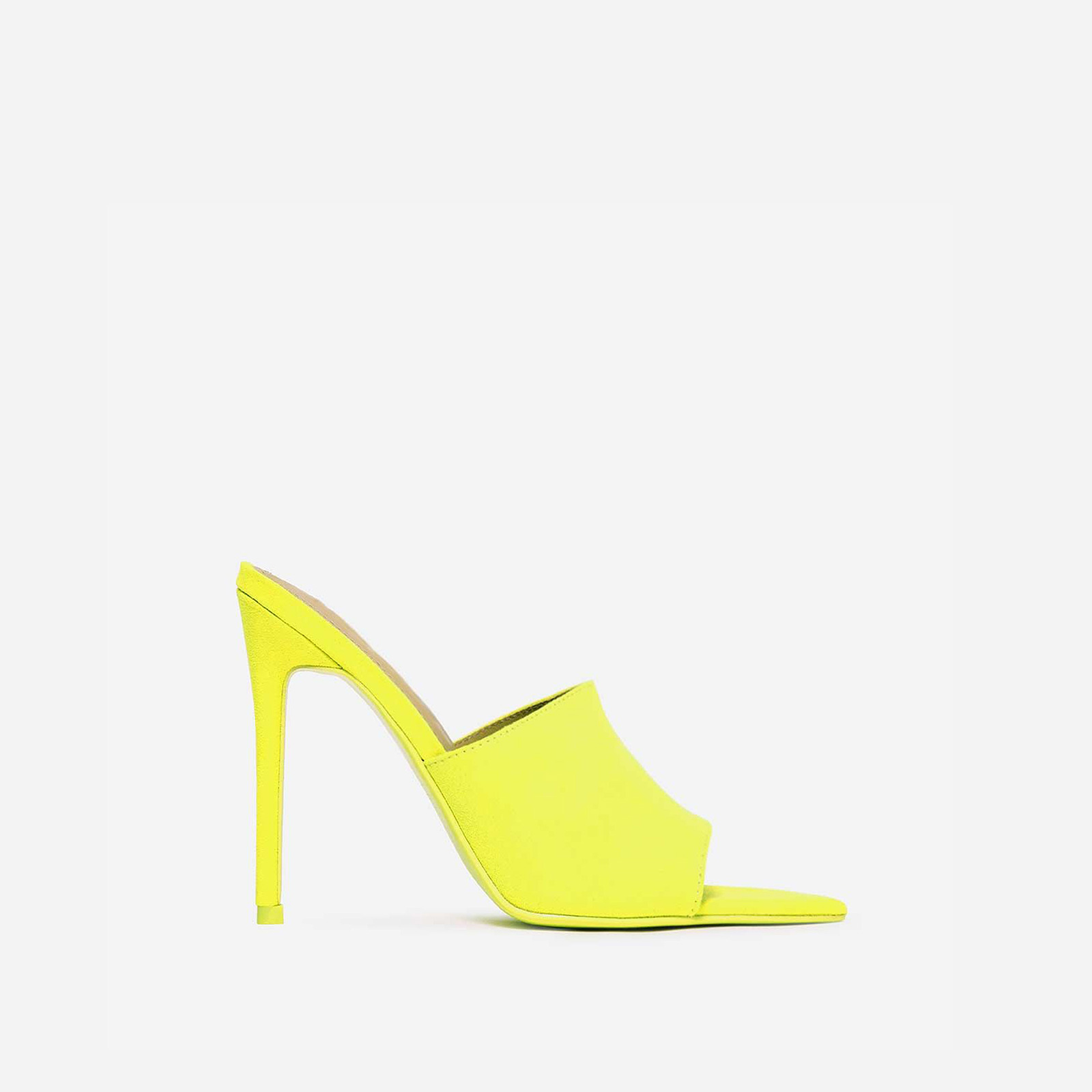 075887475f1f Cece Pointed Peep Toe Mule In Neon Yellow Faux Suede