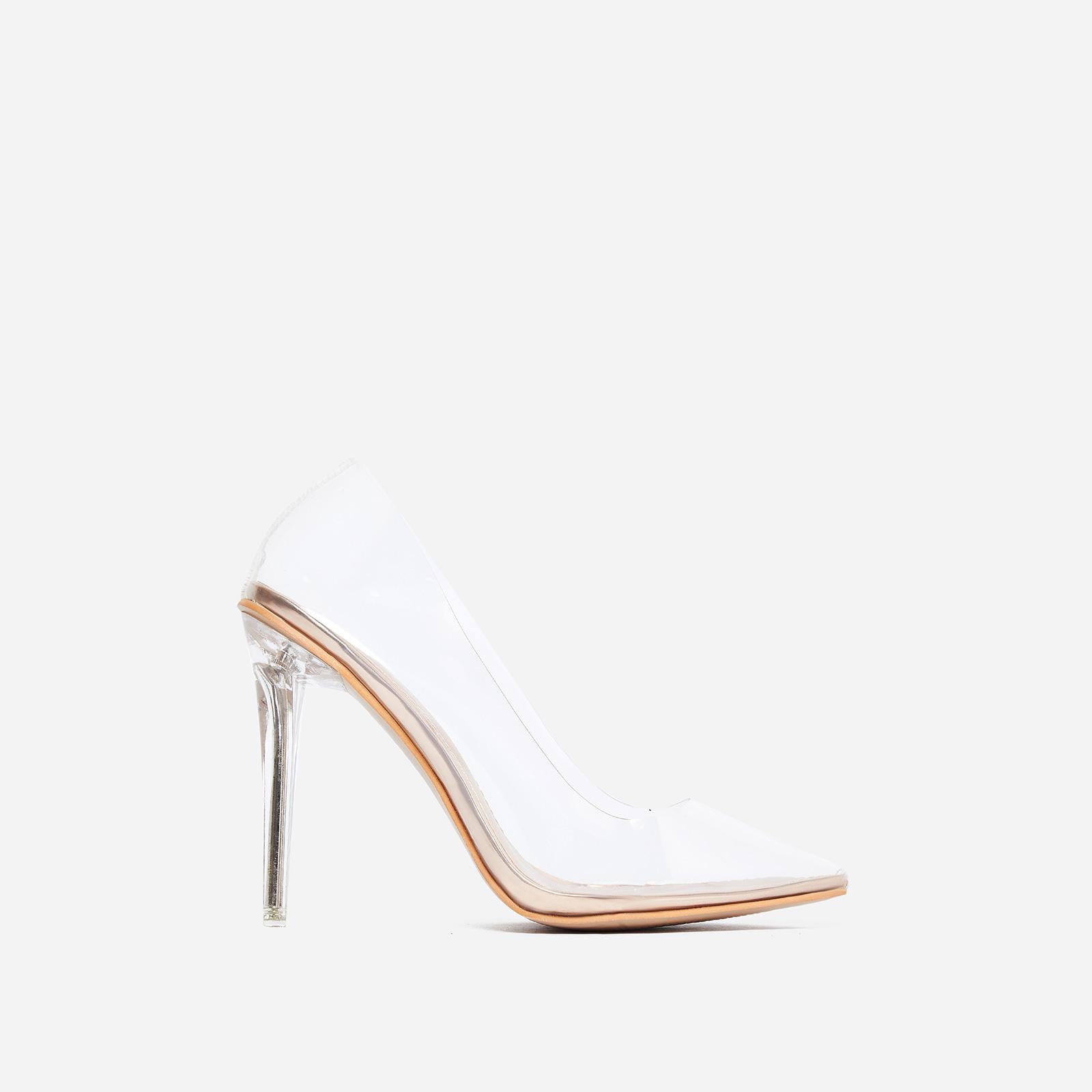 91dc9ec5d50 Virginia Perspex Court Heel In Rose Gold Patent