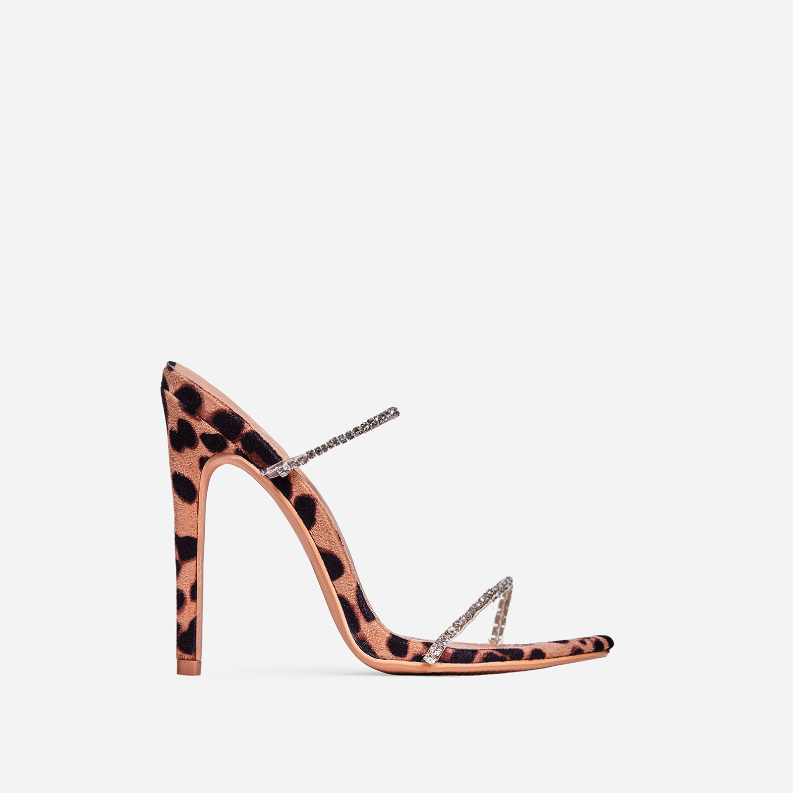 Chaos Diamante Detail Barely There Heel Mule In Tan Leopard Print Faux Suede
