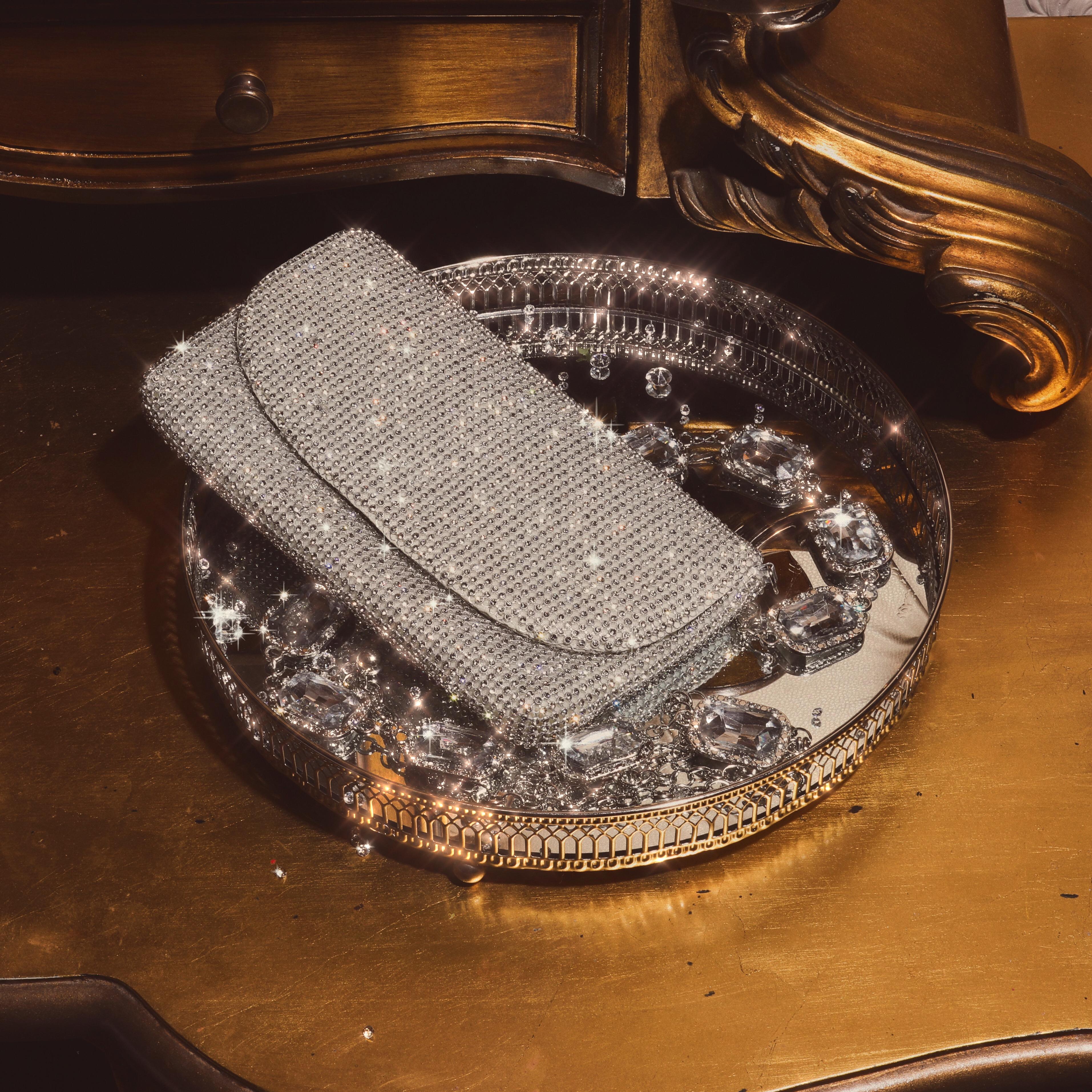 Shoulder Bag In Silver Diamante