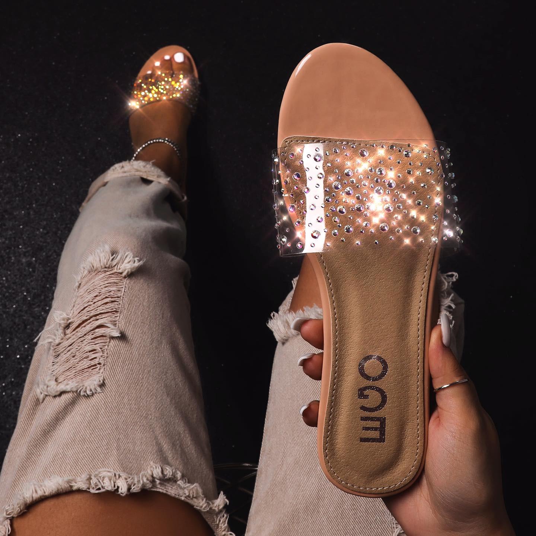 Stunning Diamante Detail Perspex Flat Sandal In Nude Patent