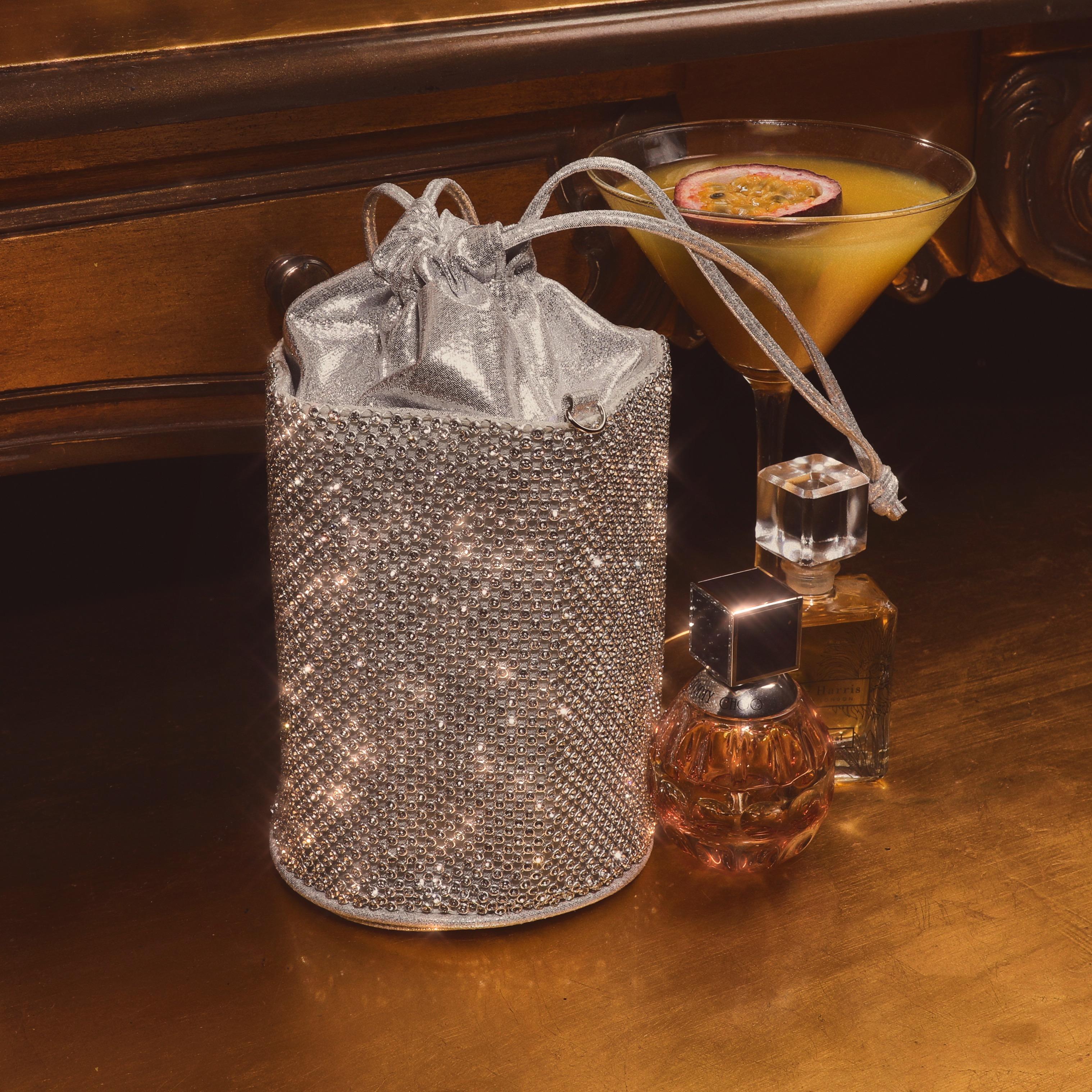 Cross Body Pouch Bag In Silver Diamante