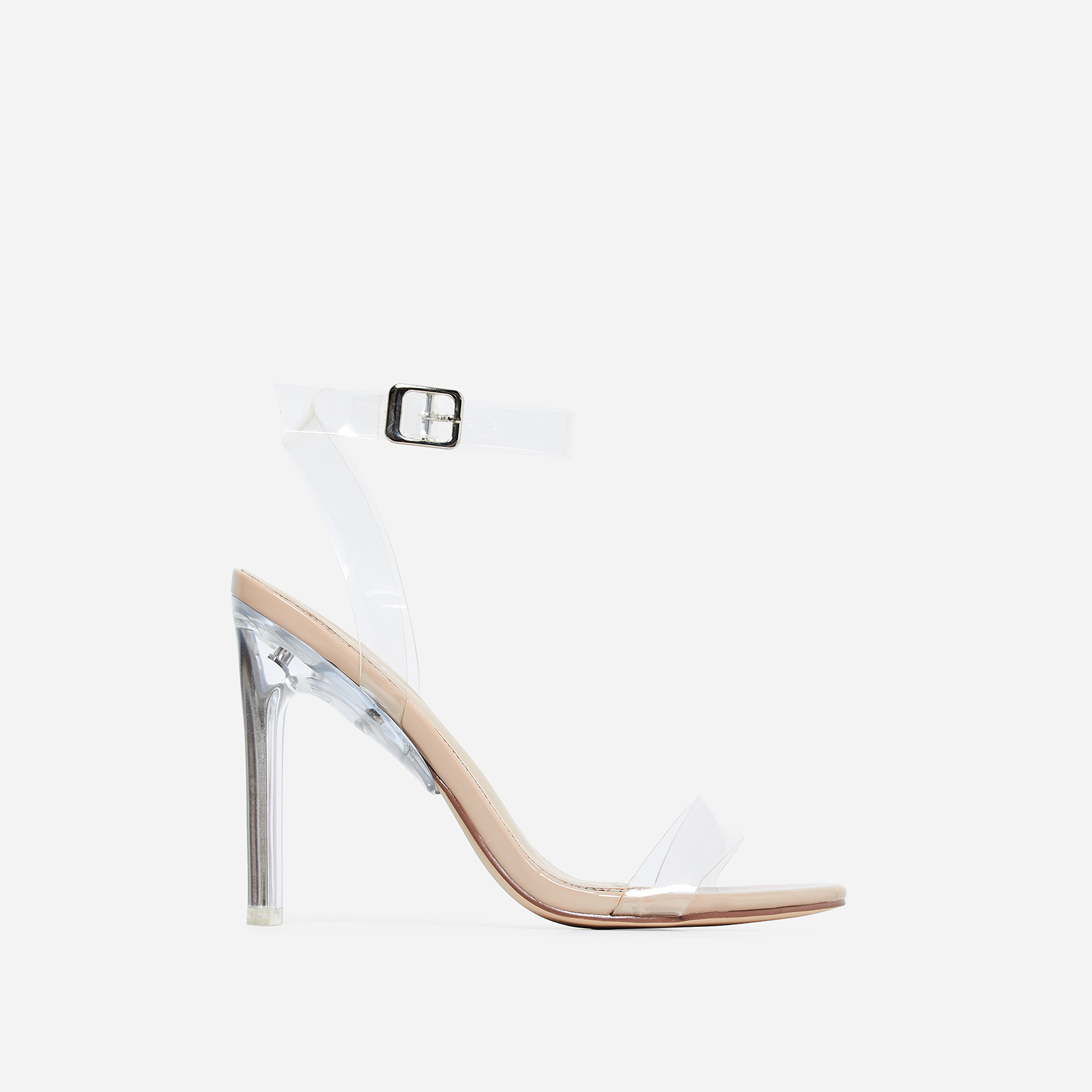 Invisible Barely There Flat Perspex Heel In Nude Patent