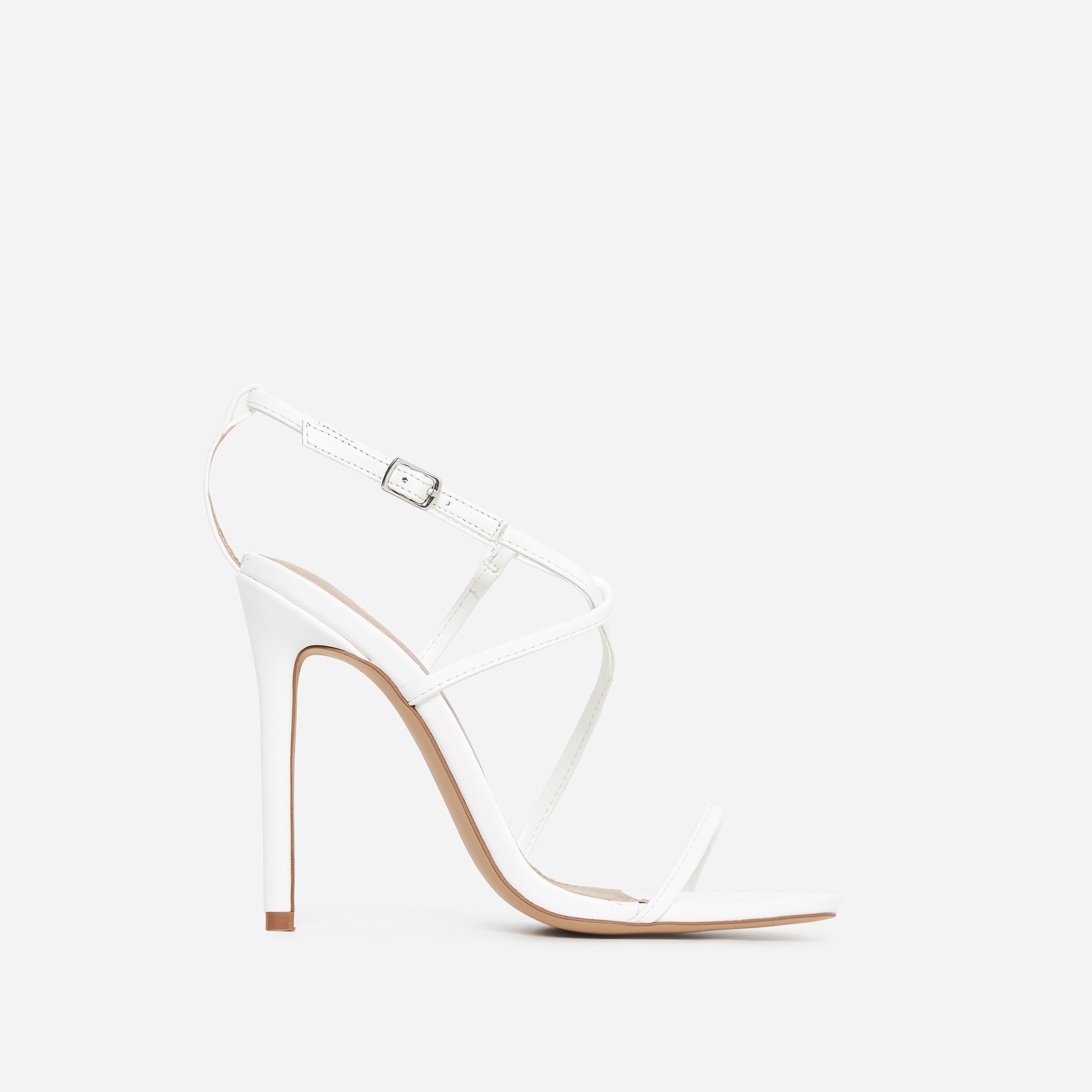 Isabelle Strappy Heel In White Faux Leather