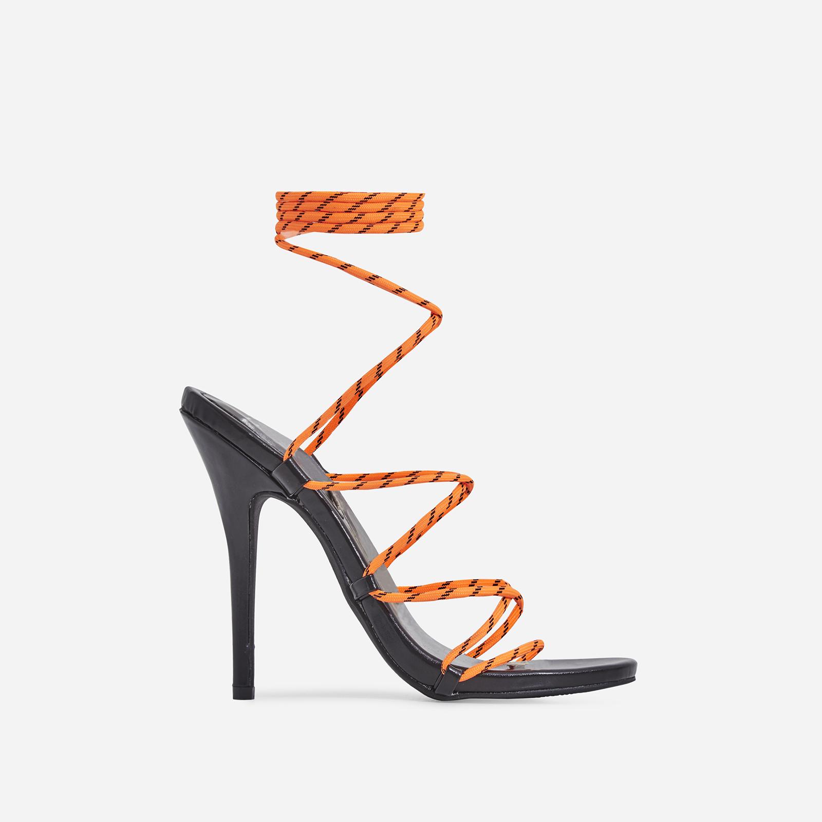 Isla Lace Up Heel In Orange