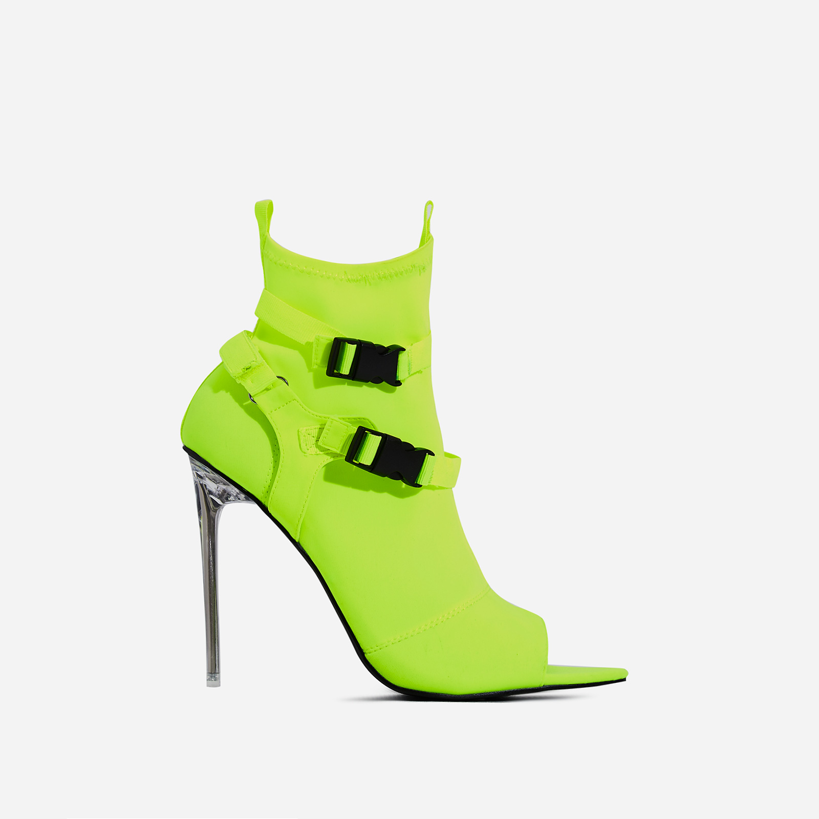 Lit Perspex Buckle Detail Pointed Peep Toe Ankle Sock Boot In Green Lycra