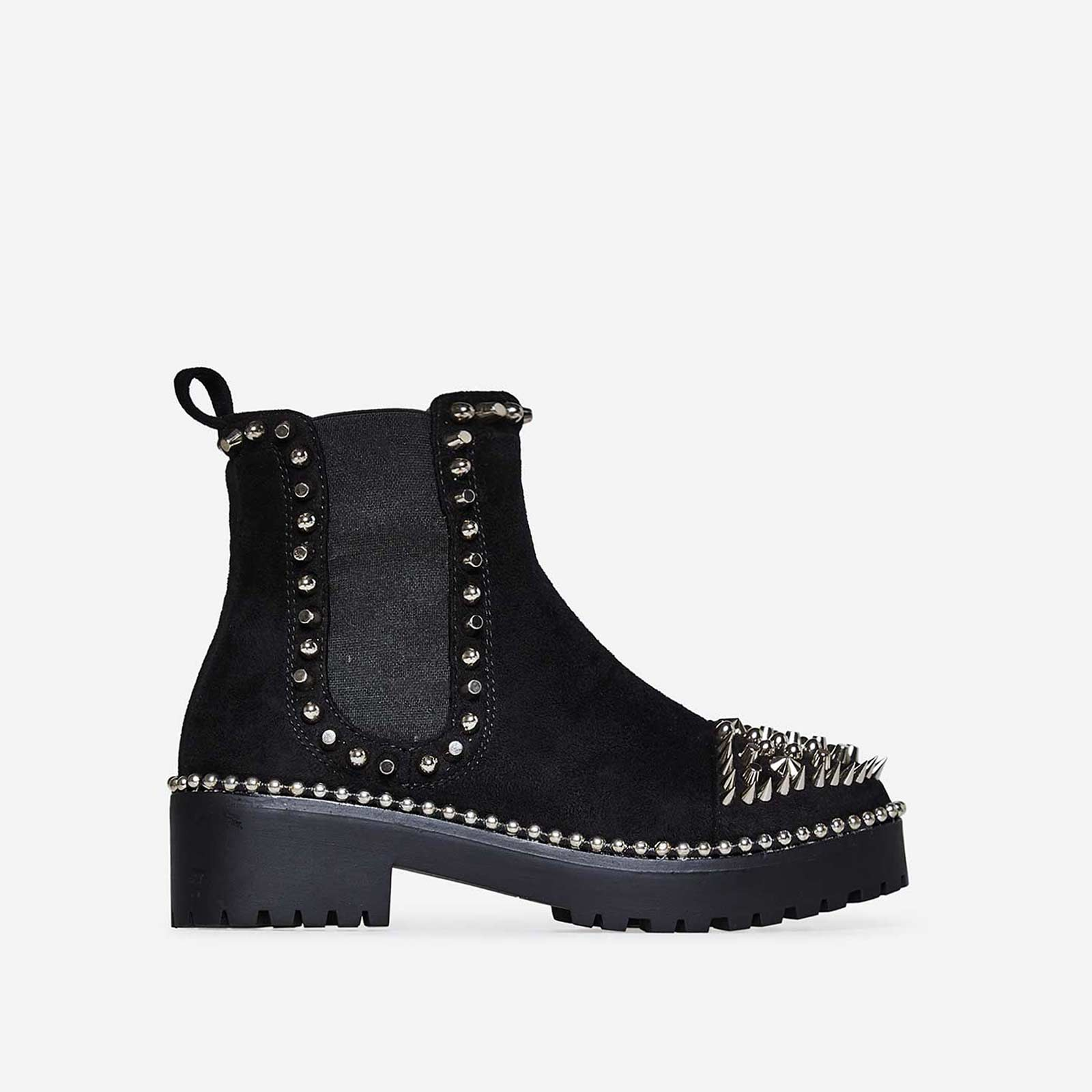 Jack Silver Studded Detail Biker Boot In Black Faux Suede