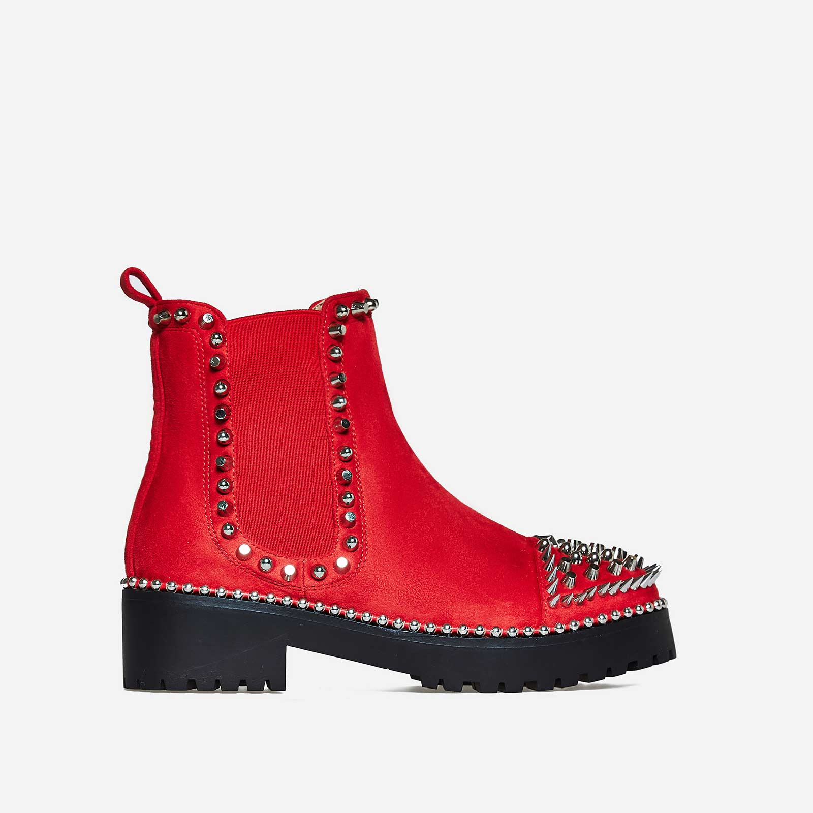 Jack Silver Studded Detail Biker Boot In Red Faux Suede